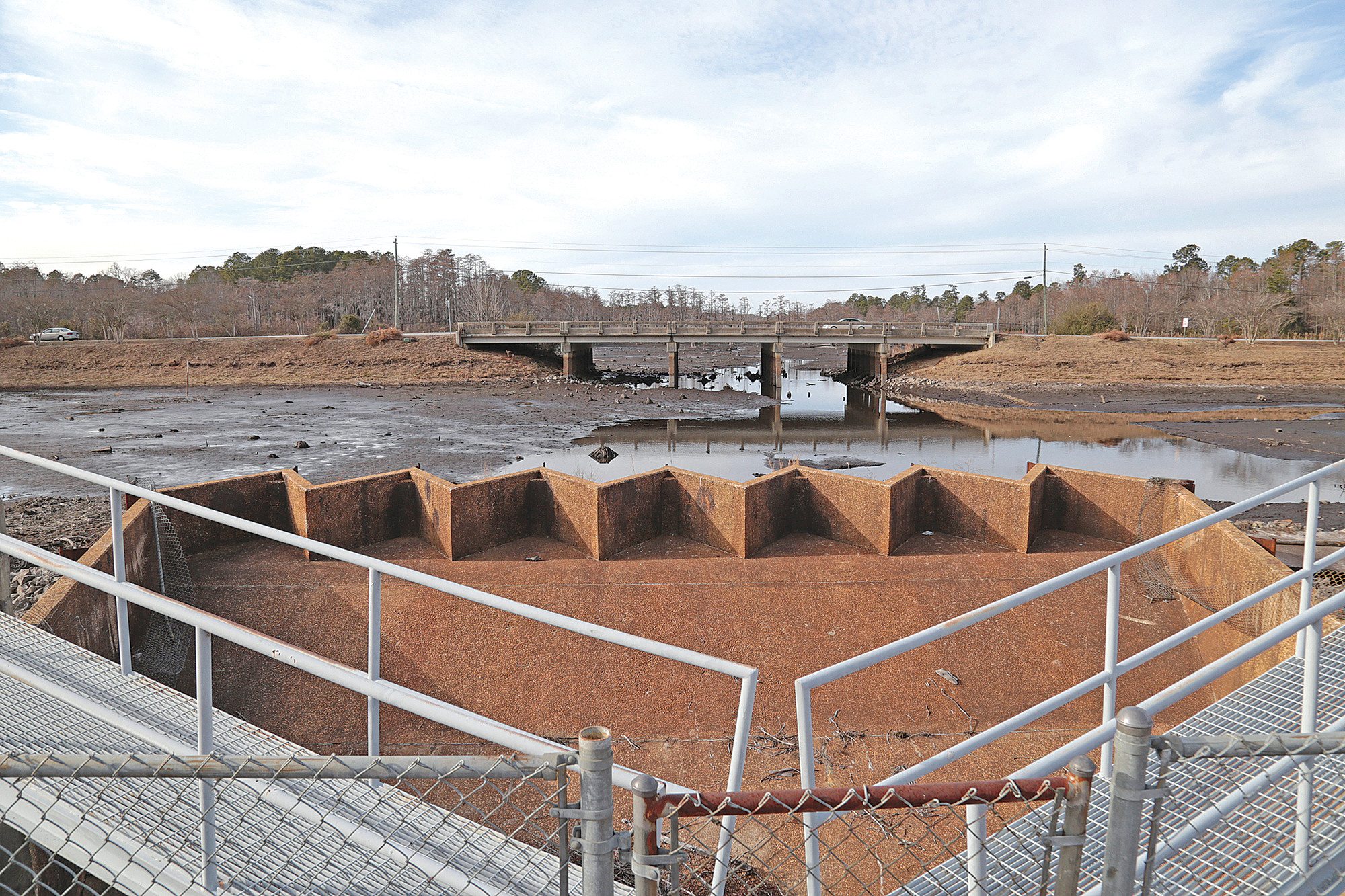 The dam at Second Mill Pond is being repaired after a devastating flood hit the area in 2015, causing damage to the structure.