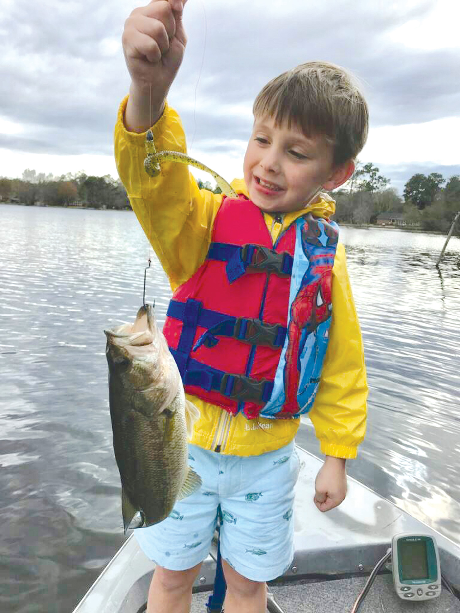 Joshua Andrews, 5, caught his first bass entirely on his own (cast, set hook and reel in) at Lakewood Pond.