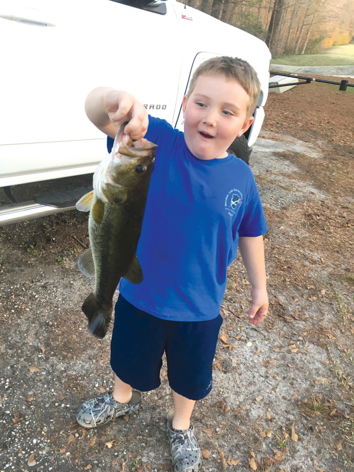 Robert M. Falls III, Trey, caught his biggest bass so far at 4 pounds on Feb. 23 while fishing with his dad.