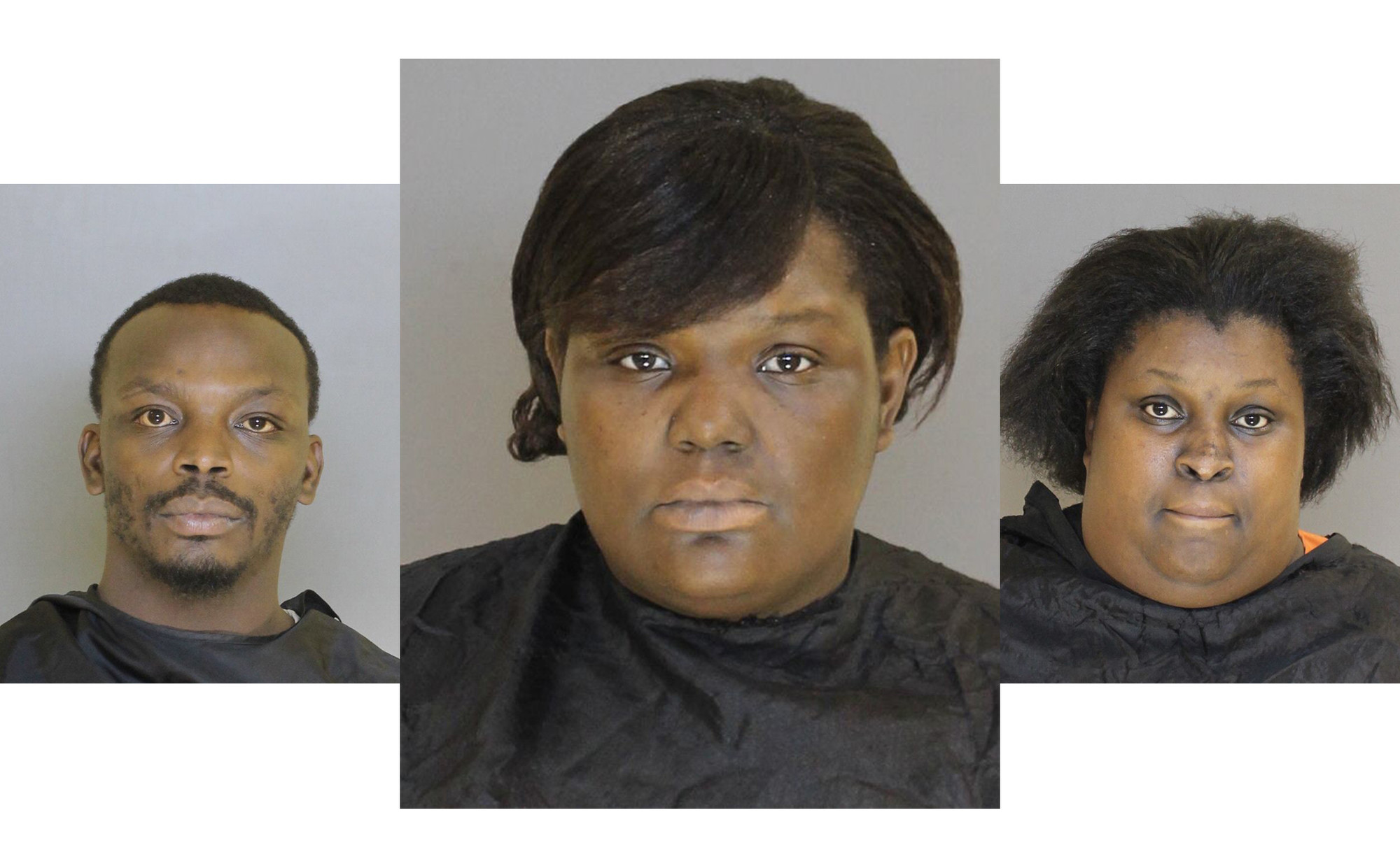 From left, Rodney Burgess remains at large, Kimberly Burgess turned herself in Tuesday, and Aireal Johnson was arrested earlier in connection with the Feb. 1 shooting of a 7-year-old boy in a home.