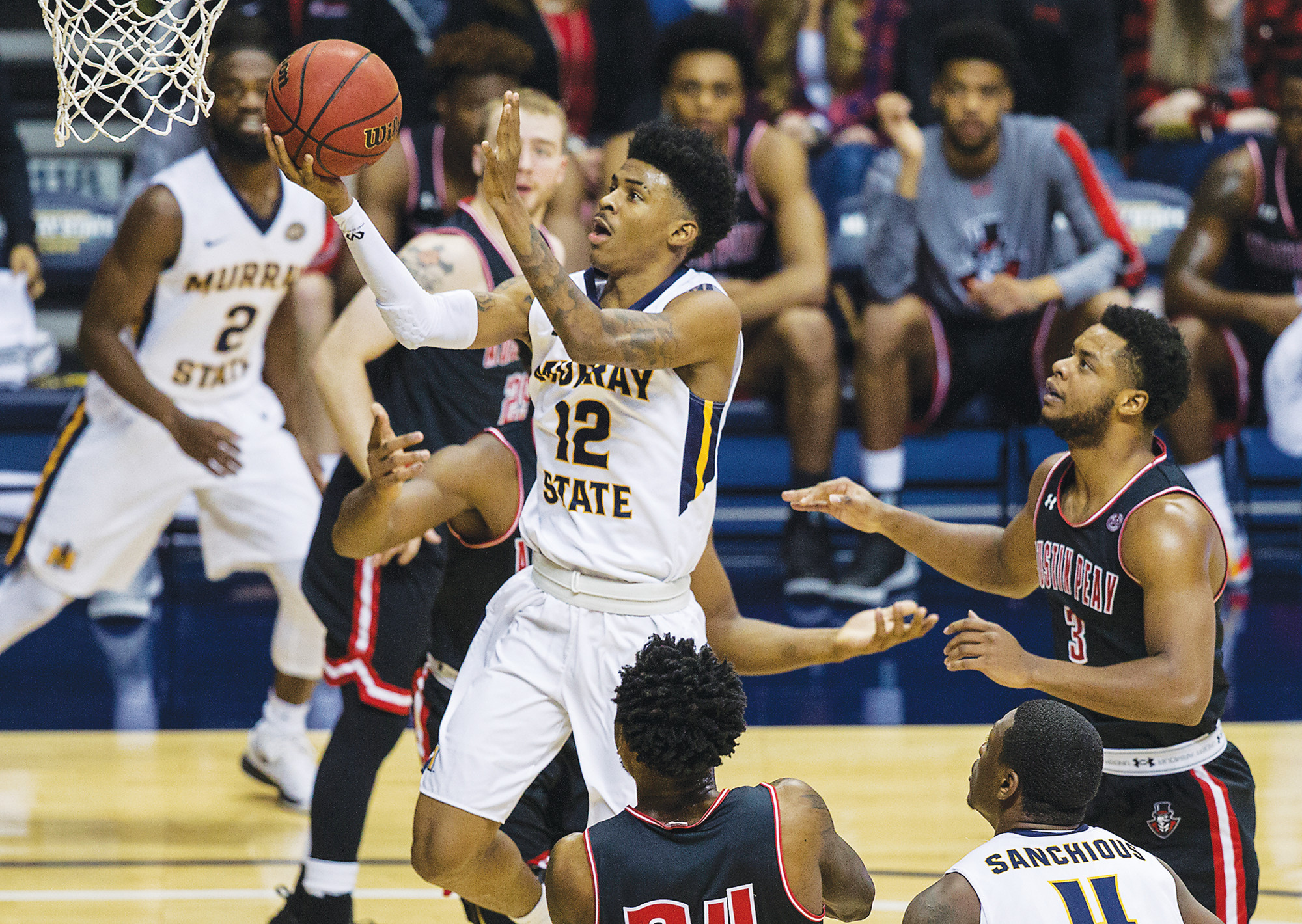 THE ASSOCIATED PRESS  Former Crestwood High School standout Ja Morant (12) will be playing in the NCAA tournament as a freshman after helping Murray State win the Ohio Valley Conference tournament on Saturday.