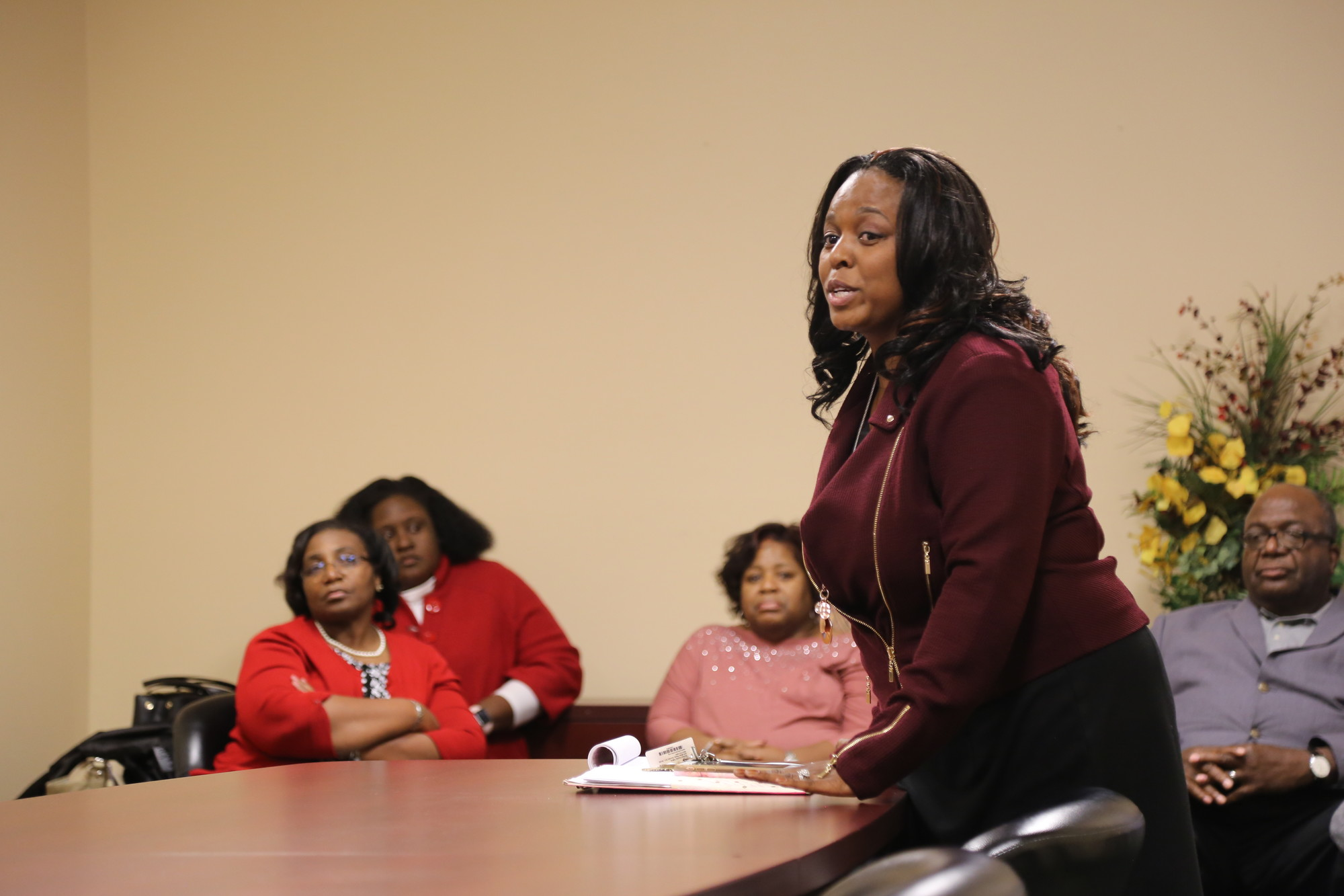 ADRIENNE SARVIS / THE SUMTER ITEMChaste'y Rayford-Gibson, overseer of the childcare center, told parents during a meeting with parents on Monday night that Grace Cathedral Child Development Center would be closing for financial reasons.