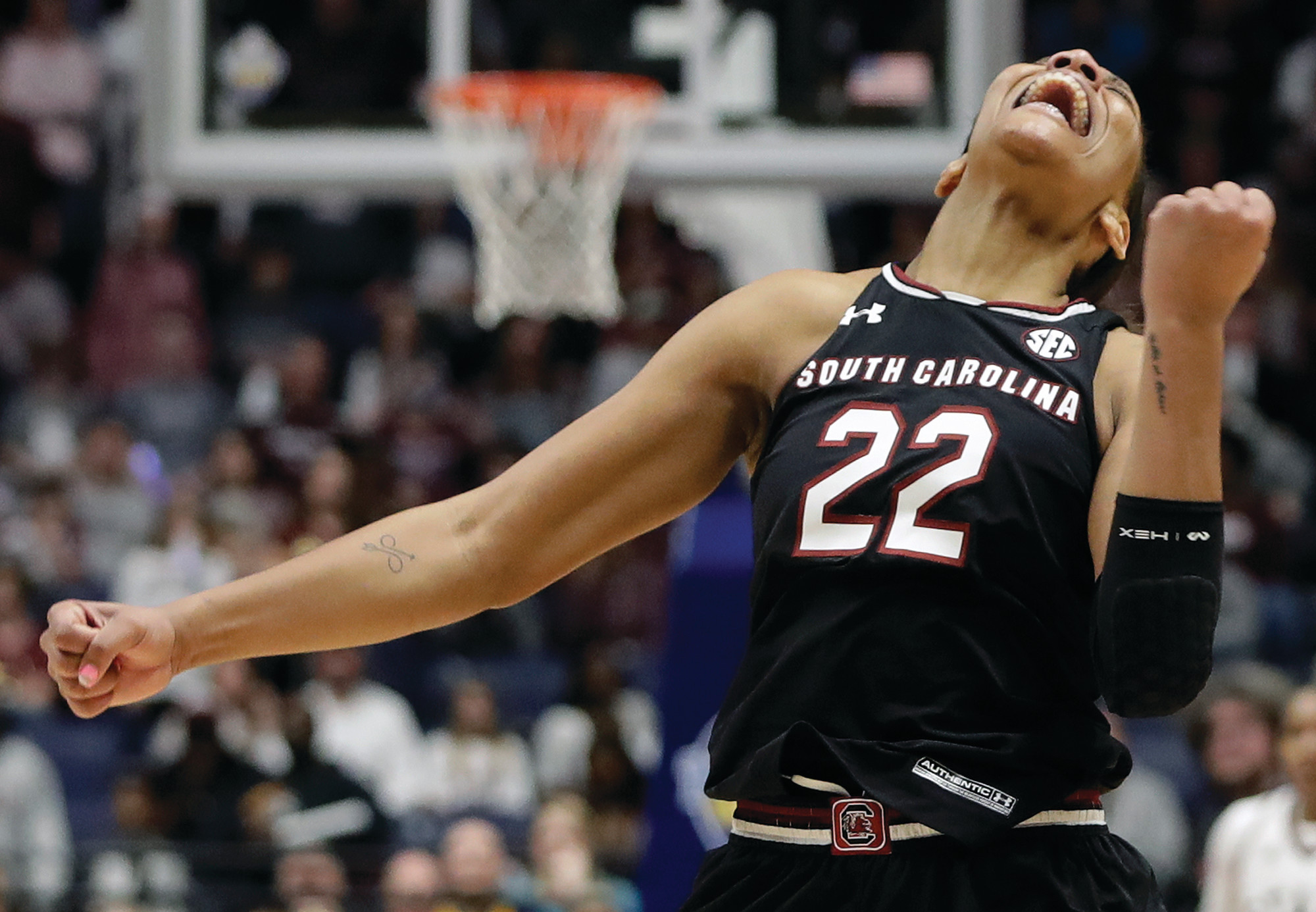 South Carolina forward A'ja Wilson celebrates after her team defeated Mississippi State in the Southeastern Conference tournament championship game on March 4 in Nashville, Tennessee. Wilson is a leading candidate to be named national player of the year.