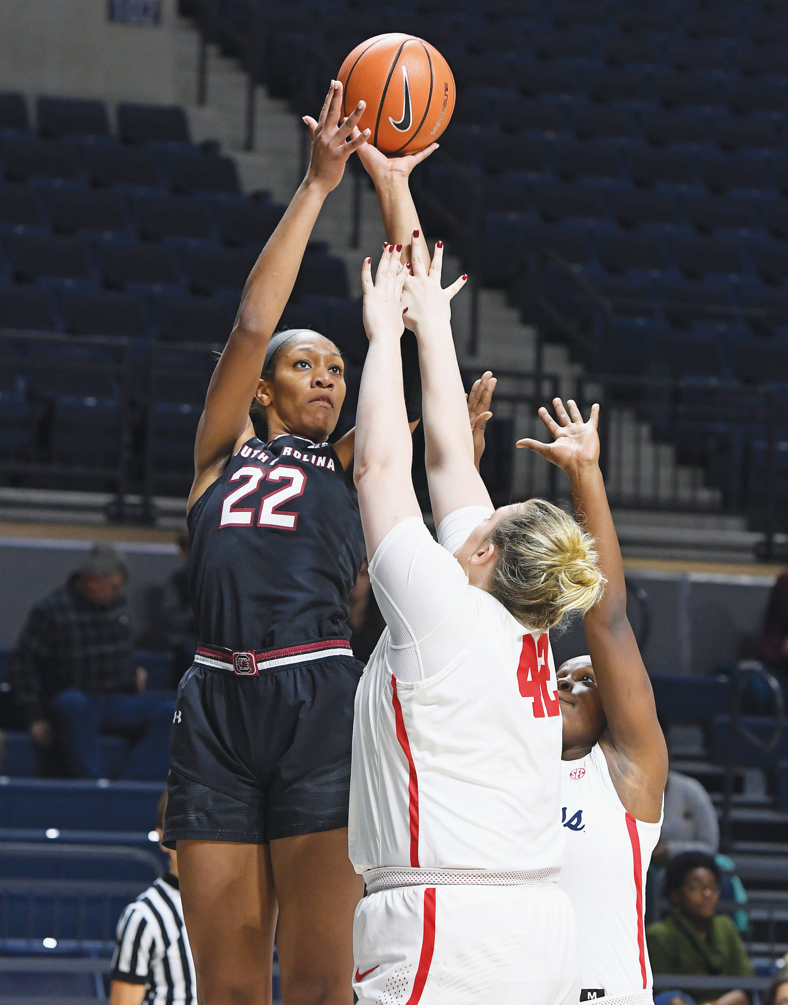 THE ASSOCIATED PRESS  South Carolina forward A'ja Wilson (22) and the rest of the Gamecocks begin defense of their national title today in the first round of the NCAA tournament. USC will play host to North Carolina A&T at 7:30 p.m. at Colonial Life Arena in Columbia