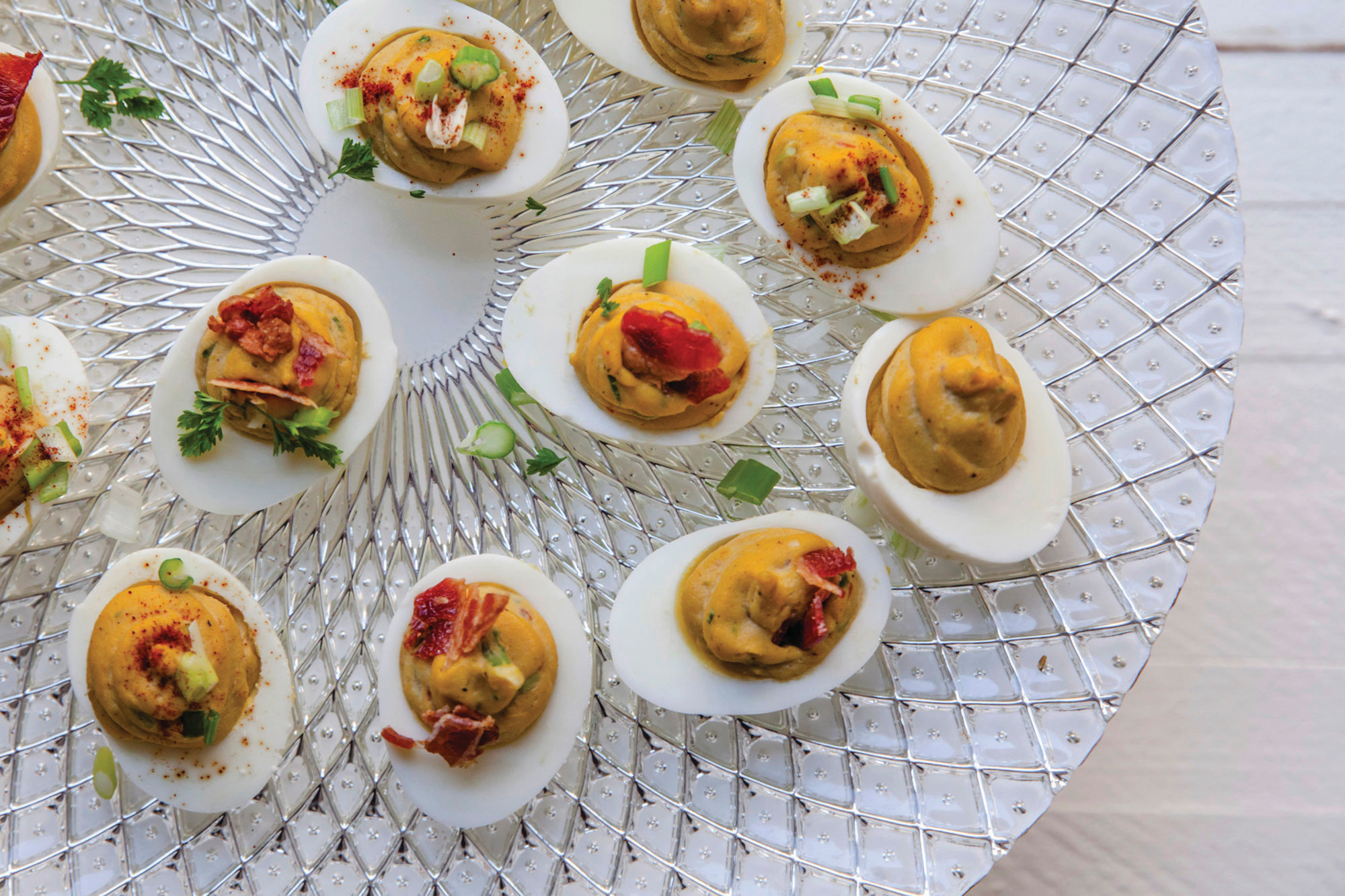 This December 2017 photo shows deviled eggs in New York. This dish is from a recipe by Katie Workman.