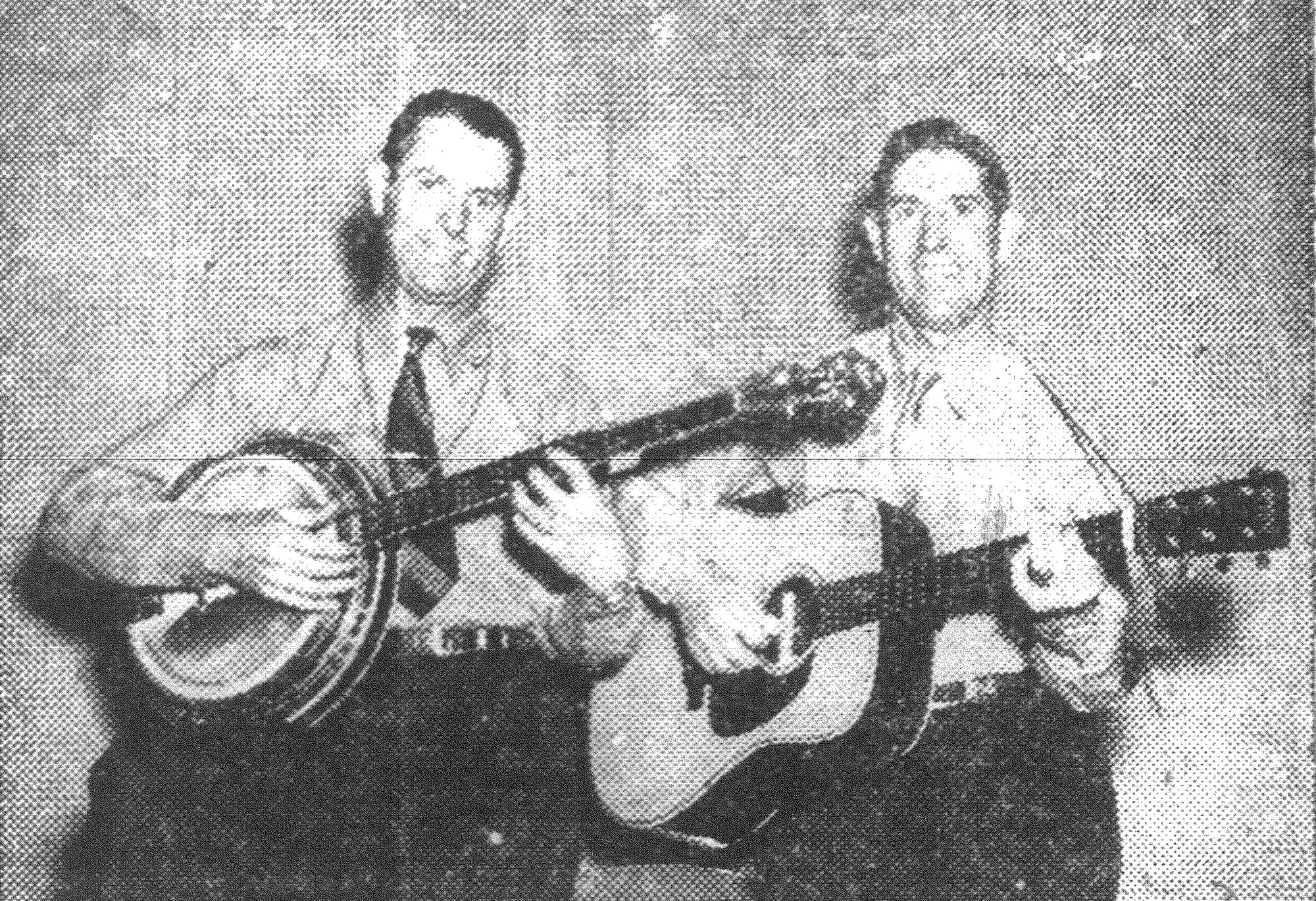 1943 - Sam and Kirk McGee, the Boys from Tennessee, who are just two of the WSM Grande Ole Opry stars appearing in Sumter on Oct. 20 in a large tent theater seating 3,000 located on Monaghan's circus lot.