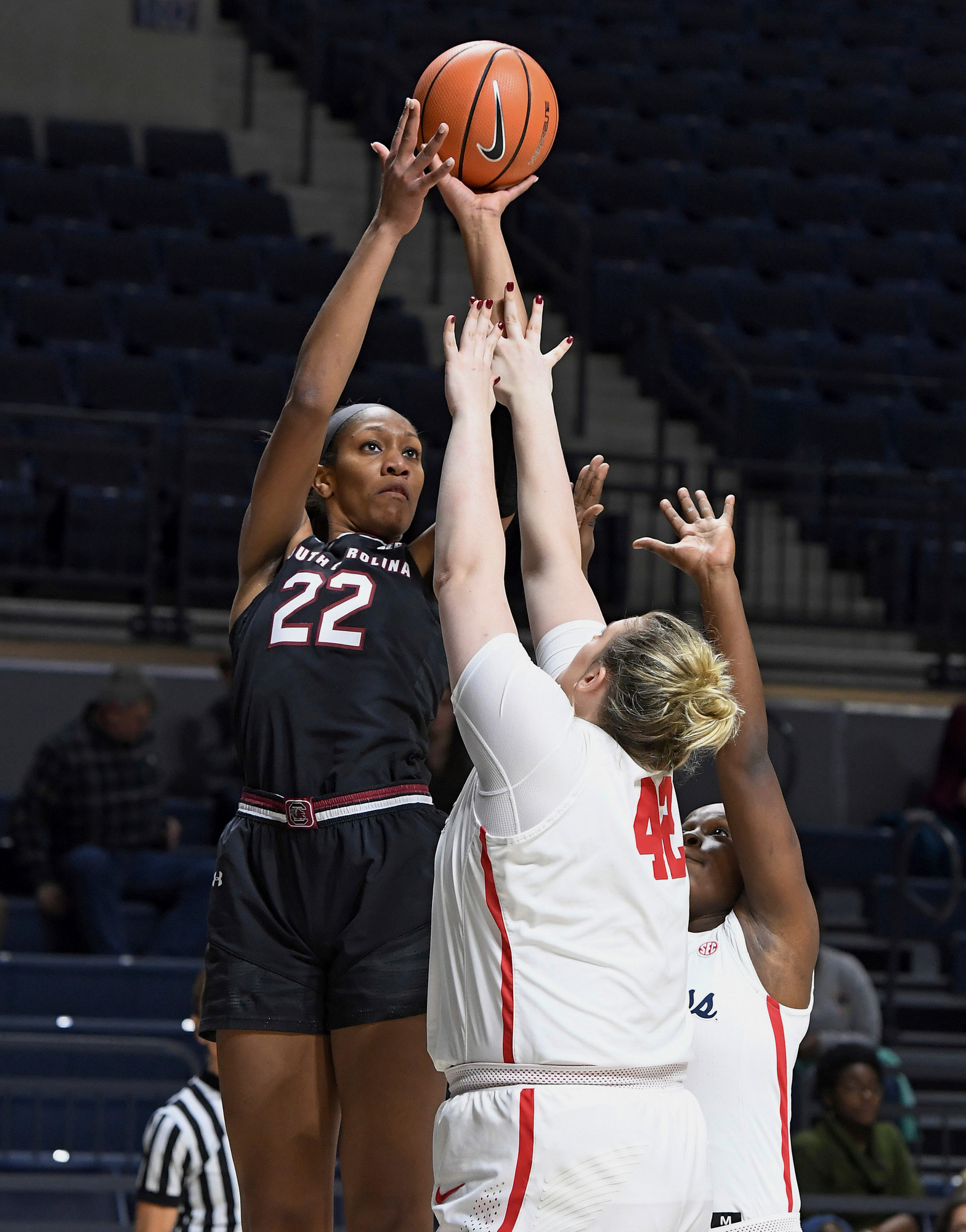 THE ASSOCIATED PRESS South Carolina forward A'ja Wilson (22) takes a shot over Mississippi forward Shelby Gibson (42) during an NCAA college basketball game in Oxford, Mississippi, on Jan. 4.