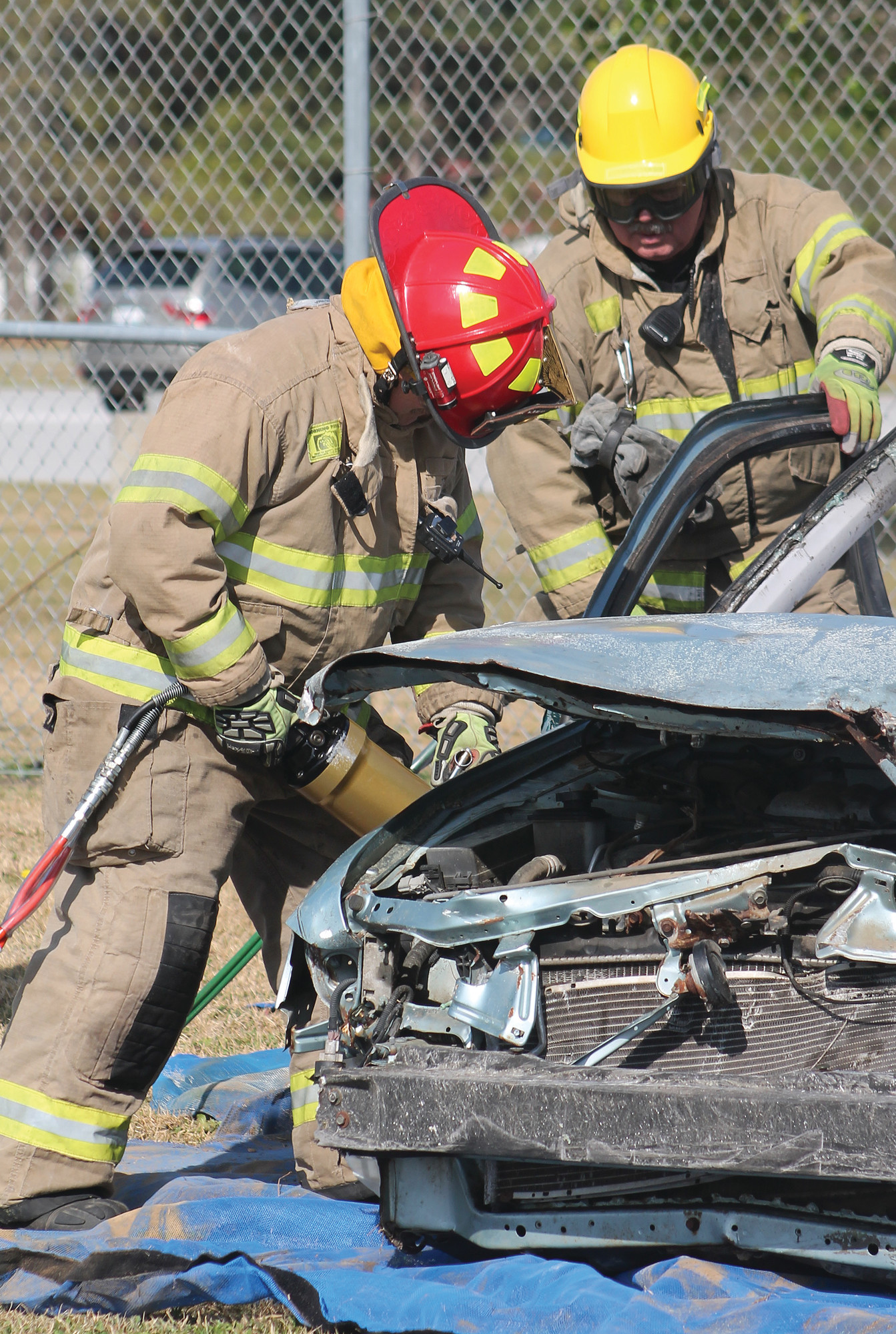 Firefighters with the Clarendon County Fire Department demonstrated how difficult it is to extricate individuals trapped in a vehicle.