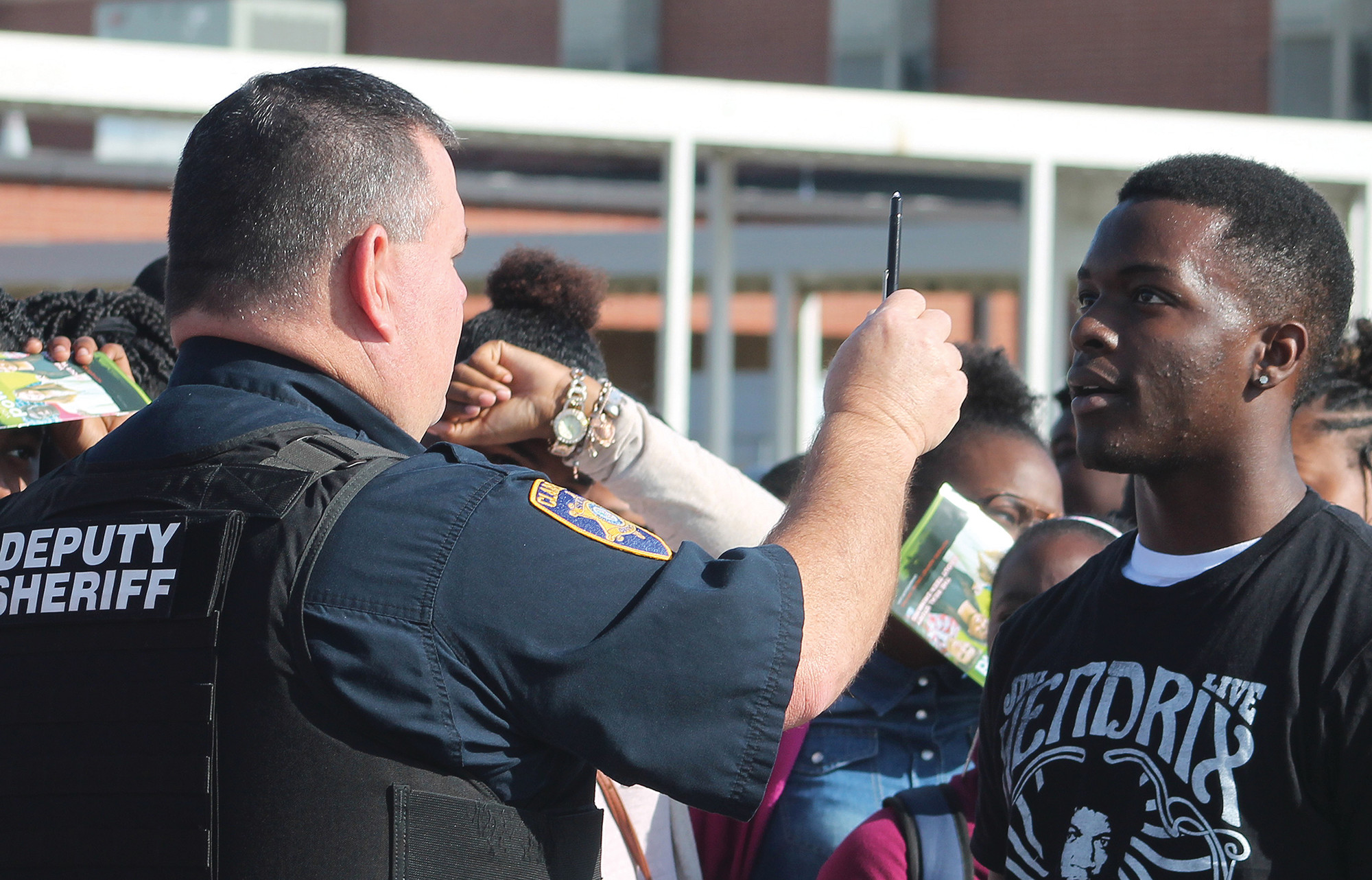 Sgt. David Floyd who heads up the Traffic Division at the Clarendon County Sheriff's Office administers a part of his division's field sobriety test to a Scott's Branch High School student as part of the school's Prom Promise program that was held Wednesday morning.