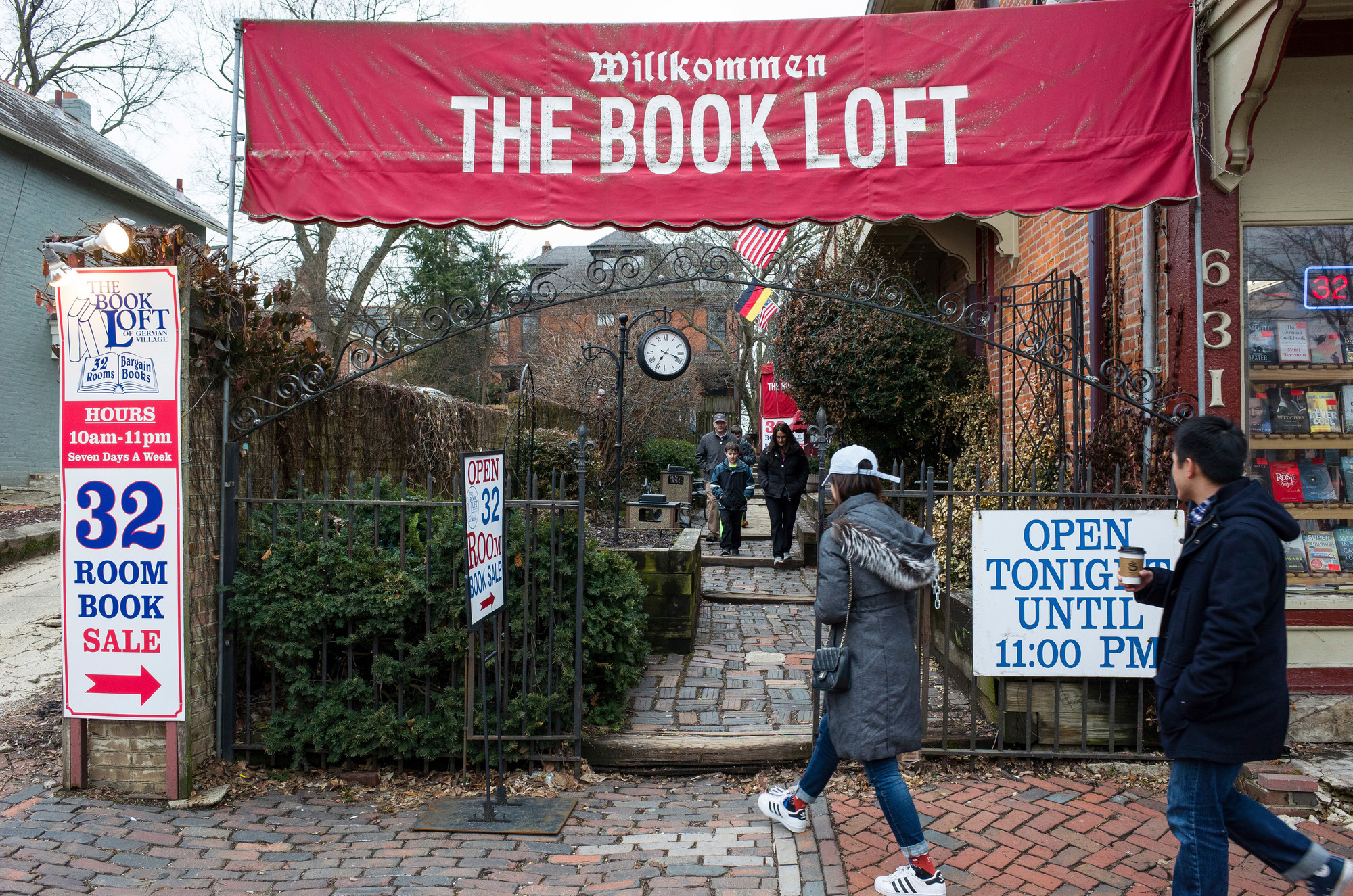 Customers approach the entrance to The Book Loft of German Village in Columbus, Ohio, on Feb. 17. The 40-year-old bookstore features 32 rooms of books.