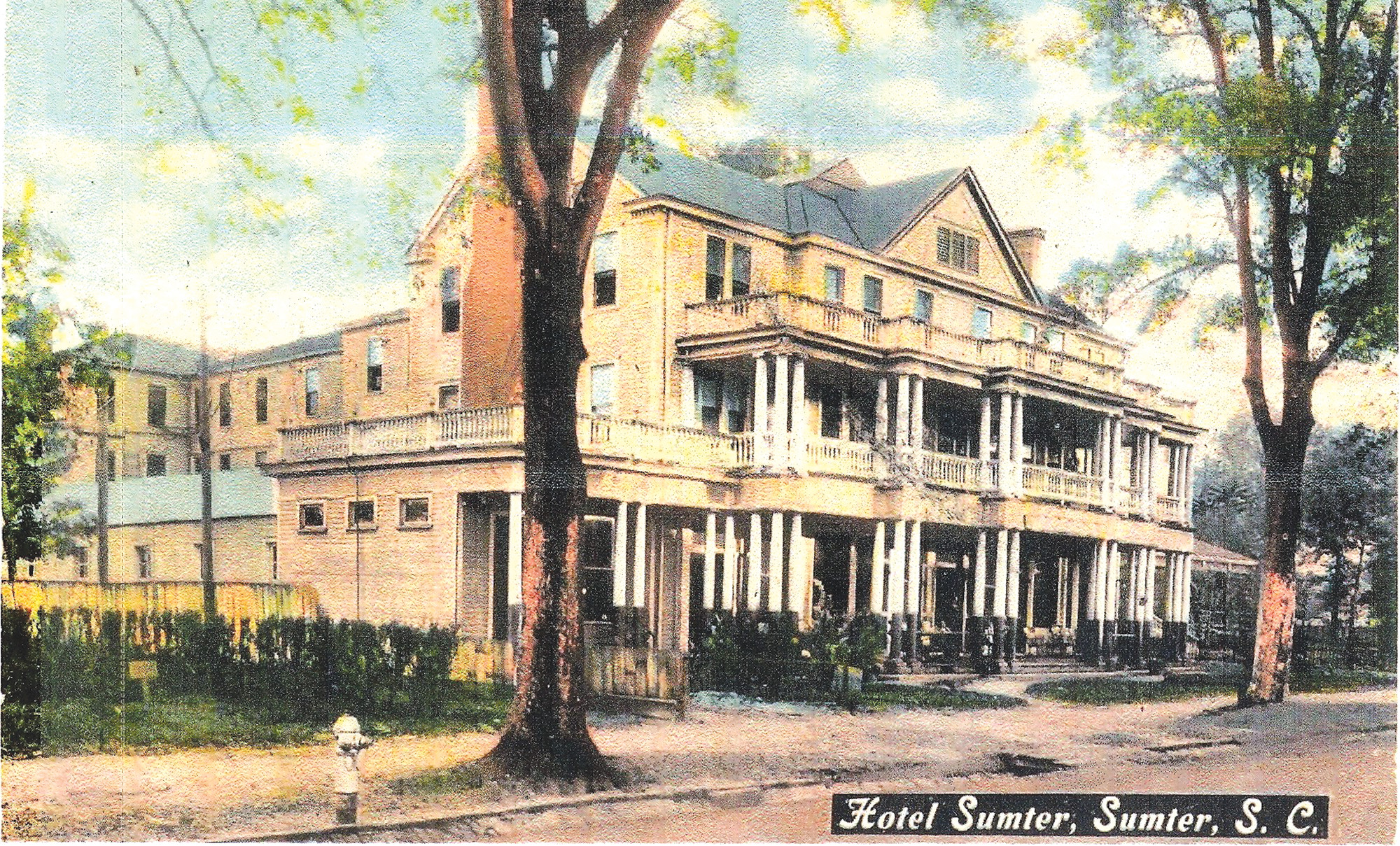 Hotel Sumter opened to guests in 1901 and had a lobby, rotundas and reading room at its location on South Main Street.