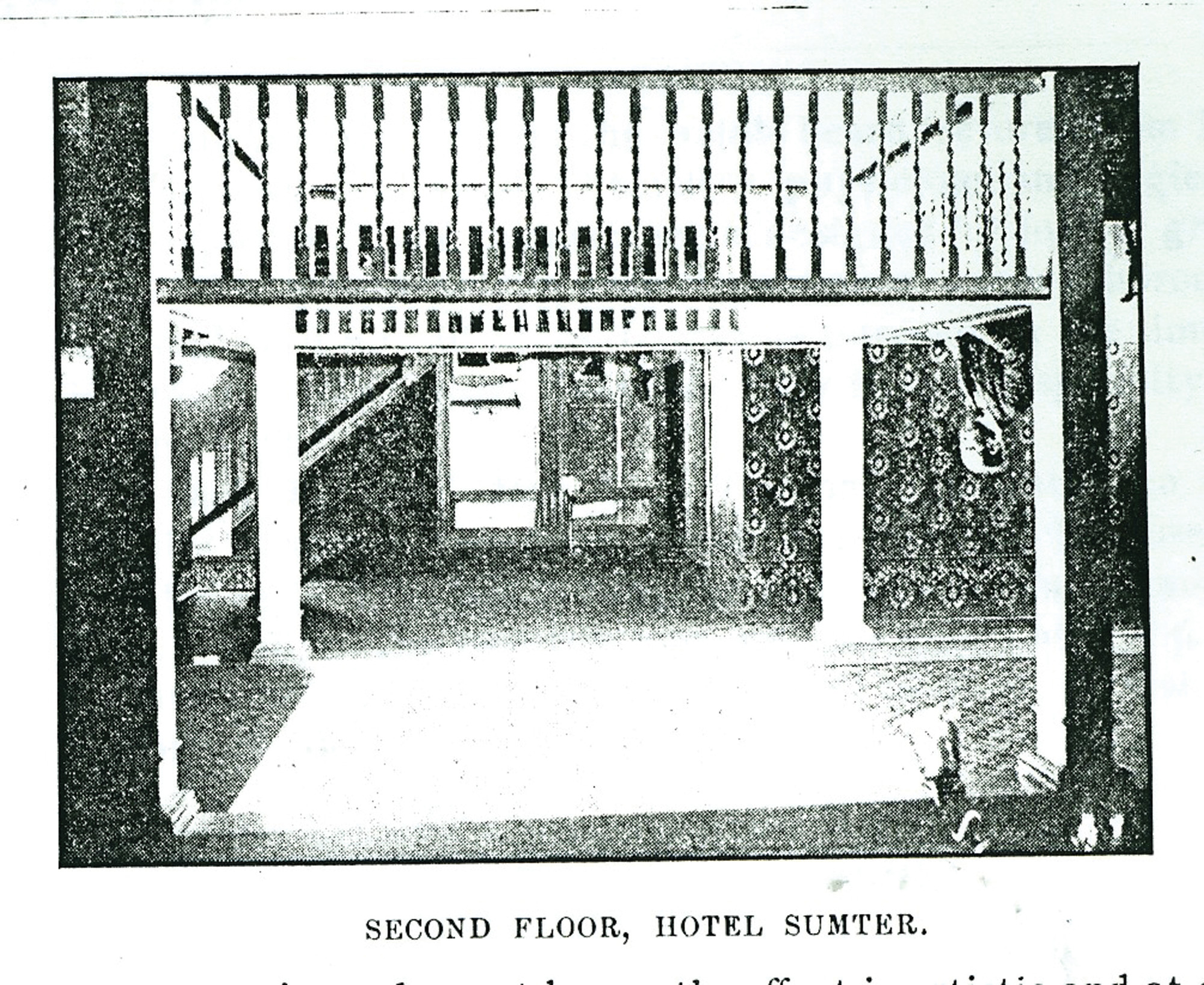 The second floor of Hotel Sumter is seen.