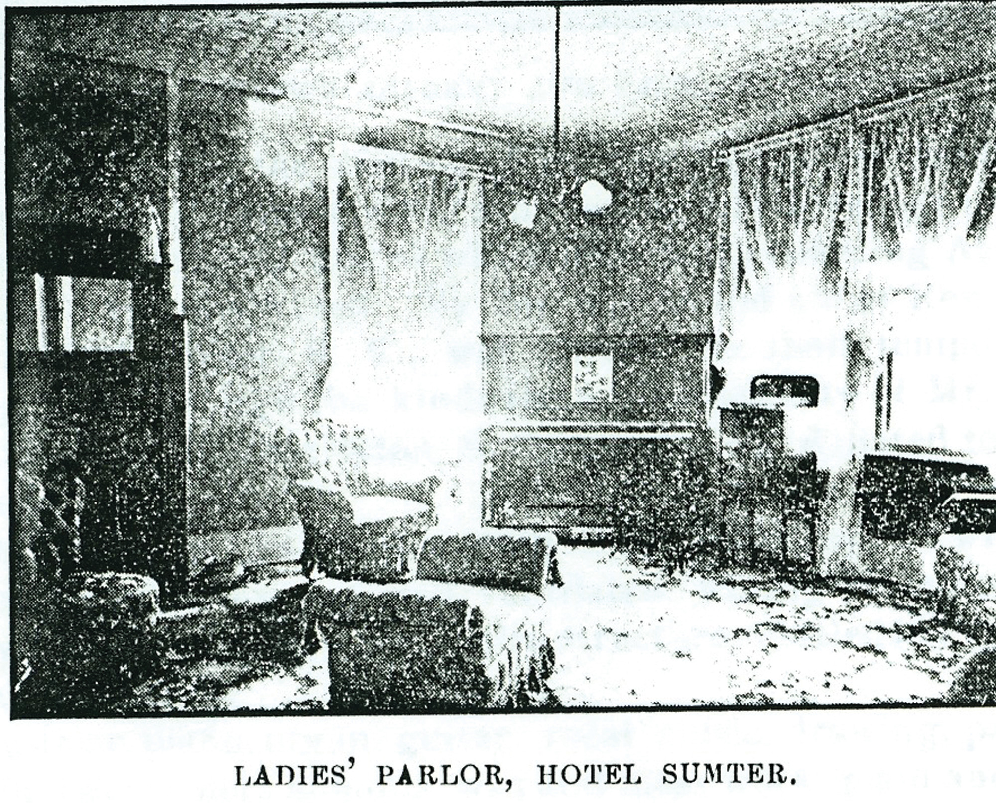 The ladies' parlor at the Hotel Sumter featured an upright piano.