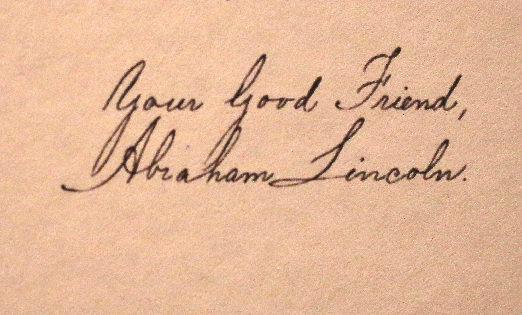 "The signature letter of President Abraham Lincoln's reply to Thailand king Mongkut is on  display at  the exhibition ""Great and Good Friends,""  inside Grand Palace Bangkok, Thailand, on March 22."