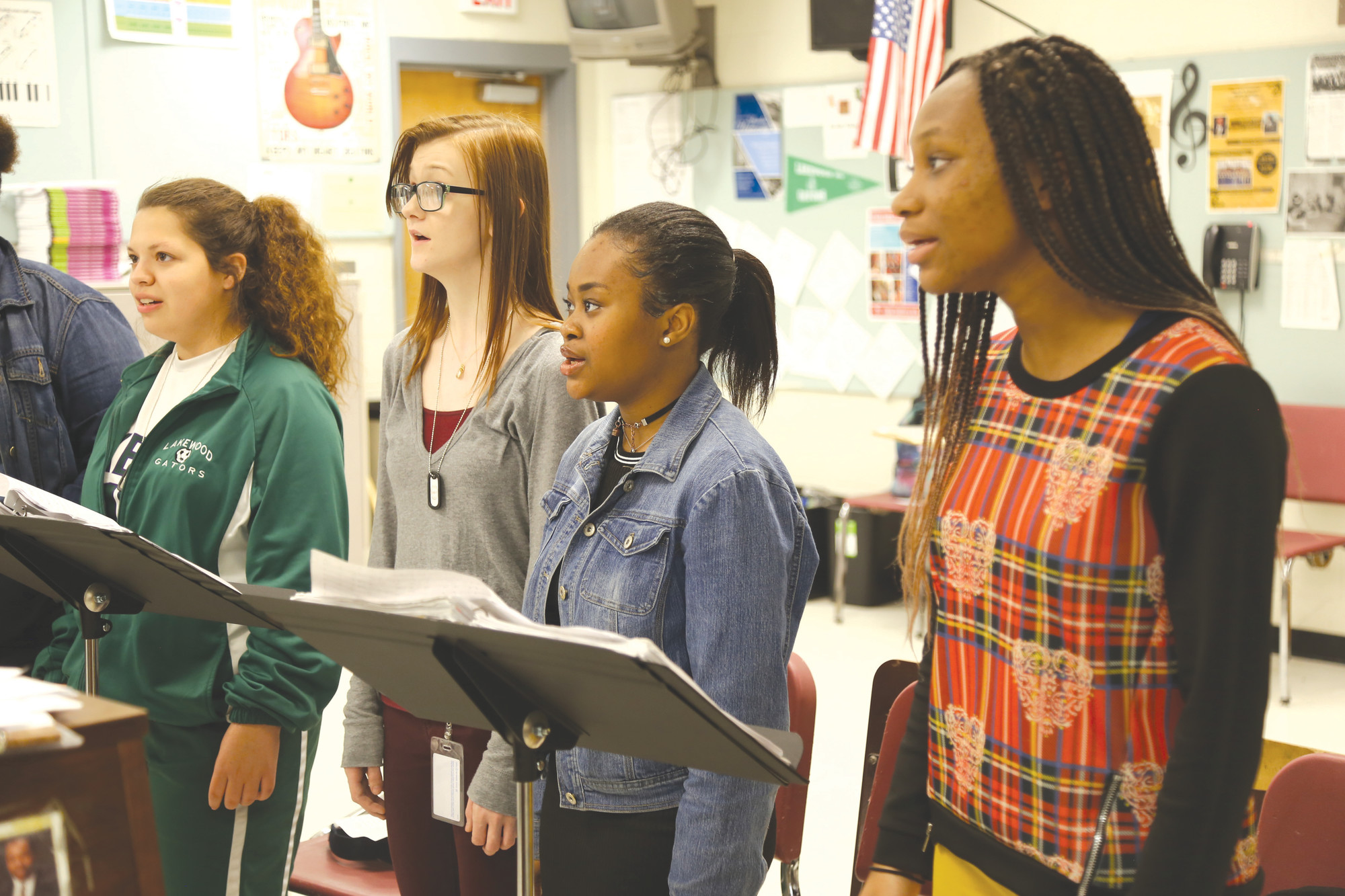 Members of the Lakewood High School Vocal Jazz Ensemble practice last week during class at the school.