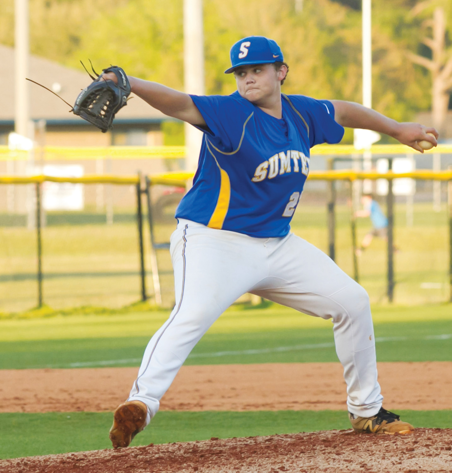 Sumter's Josh Bryant delivers a pitch in the Gamecocks' 3-2, 8-inning win over West Florence on Tuesday at Gamecock Field.