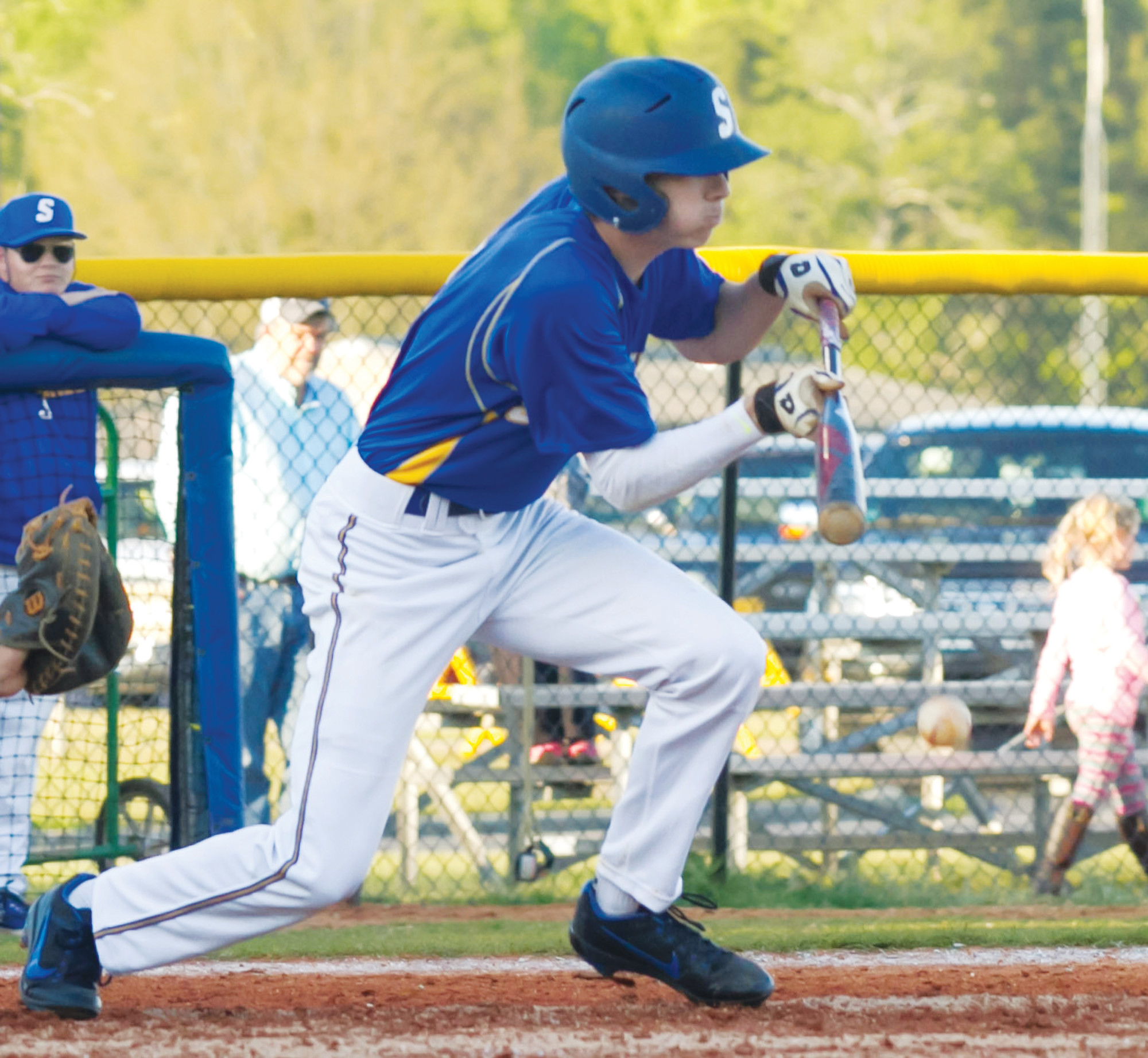 Sumter's Jackson Hoshour puts down a bunt in the Gamecocks' 3-2, 8-inning win over West Florence on Tuesday at Gamecock Field.
