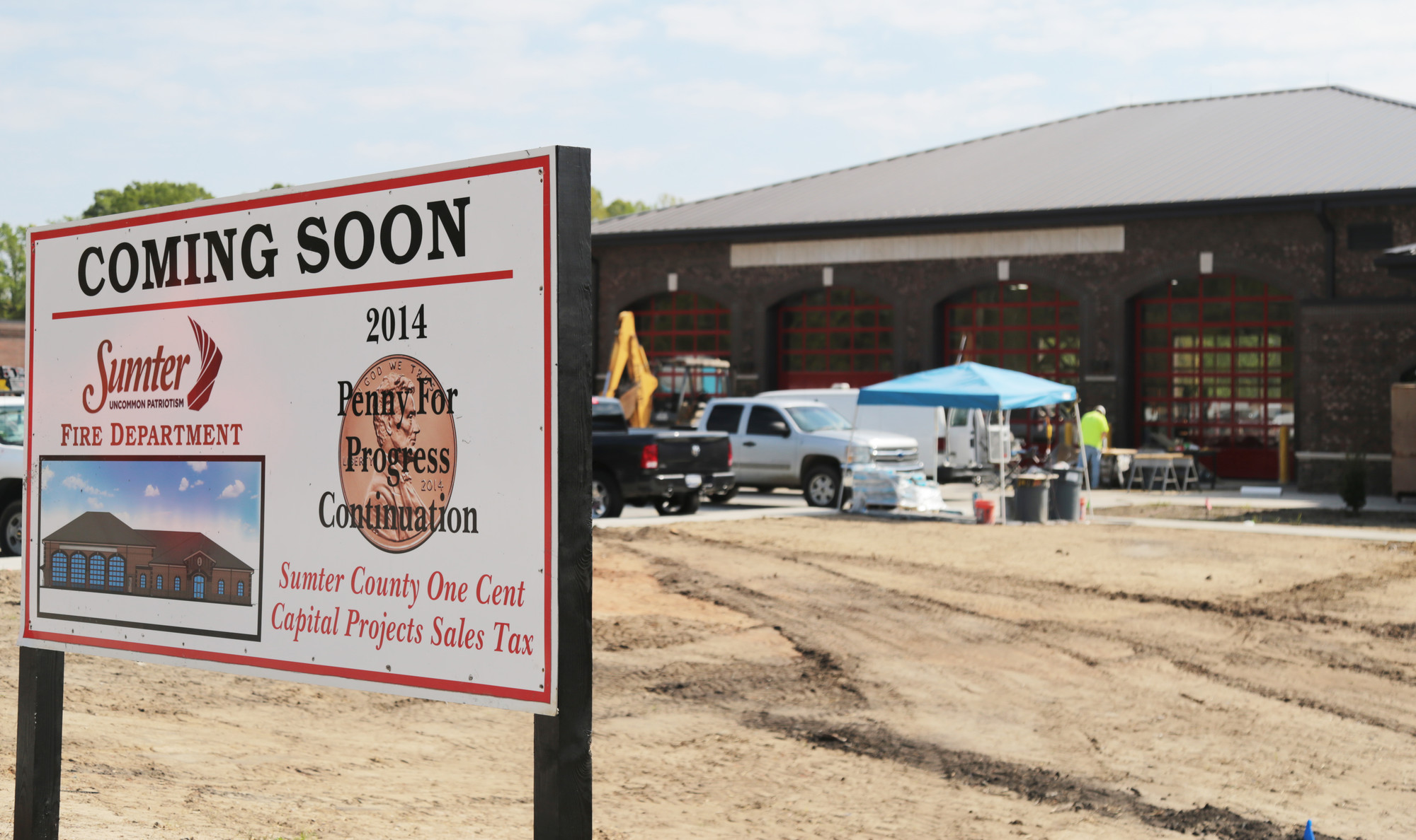 Contractors add final touches to the new police and fire department buildings on Lafayette Drive. Once the interior work is complete, landscaping and concrete work will finish off the project.