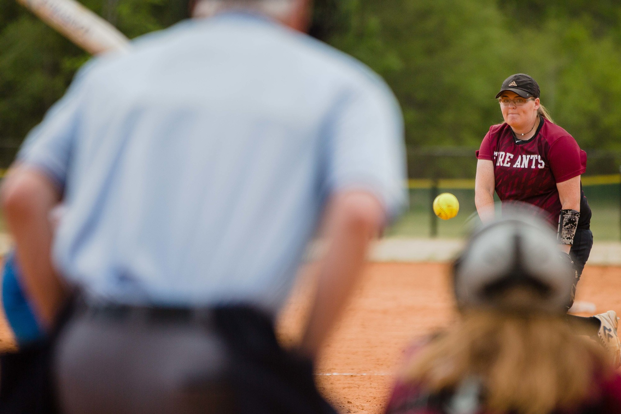 USC Sumter pitcher Meagan Phillips delivers a pitch during the Fire Ants' game against Spartanburg Methodist College on Fridiay at the Patriot Park Sportplex.