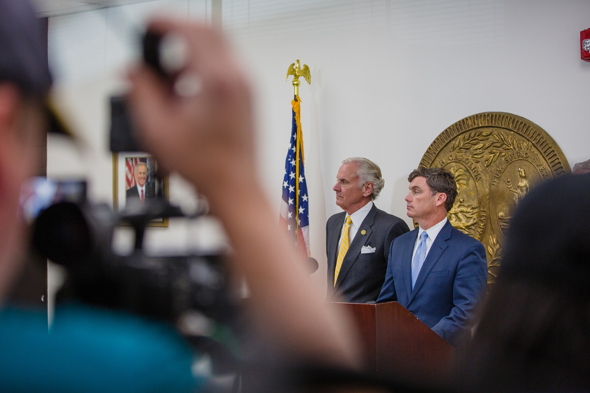 Gov. Henry McMaster, SCDC Director Bryan Stirling and SLED Chief Mark Keel adresses the media on Monday in Columbia.