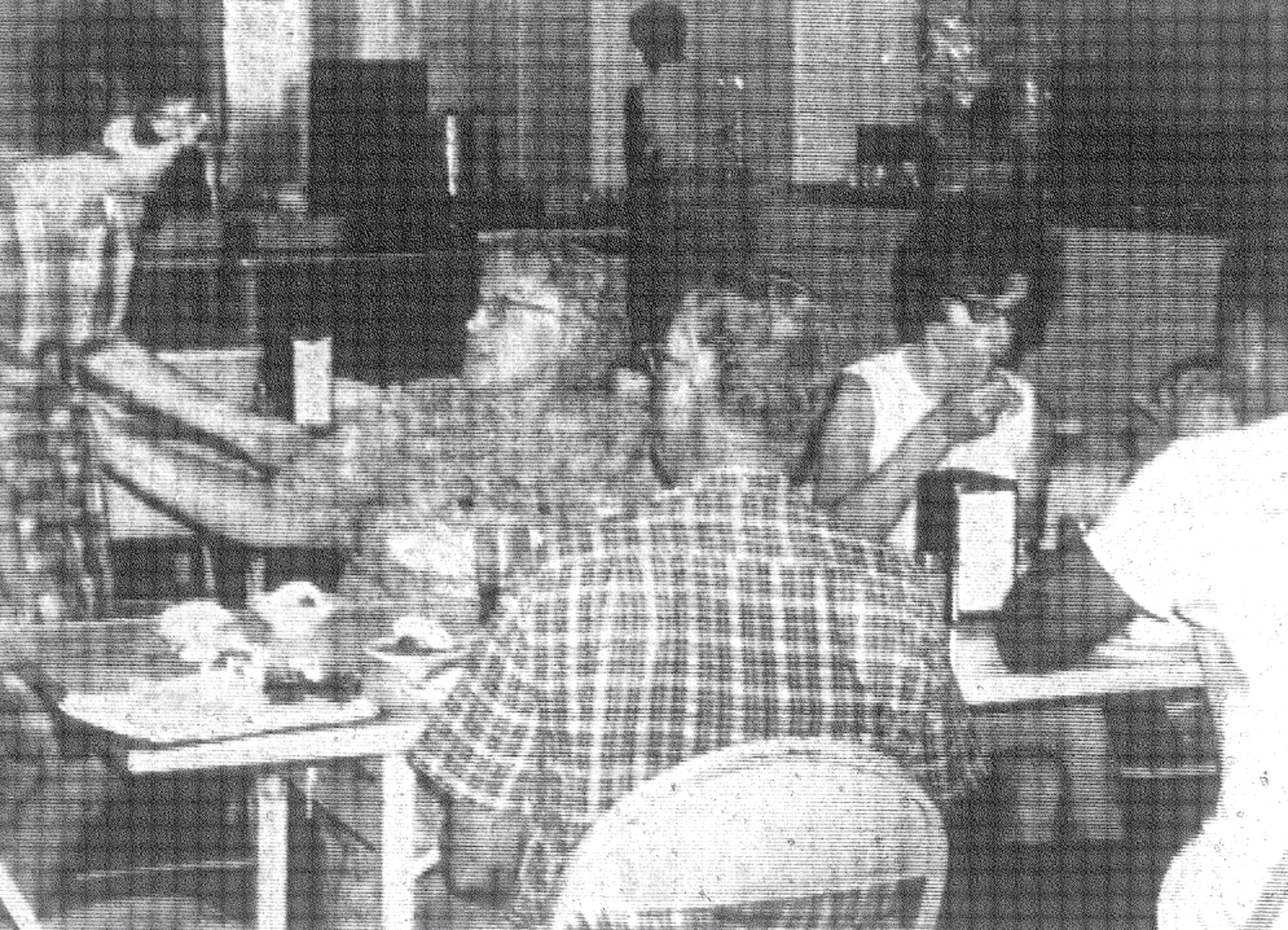 1968 - The dining room at Camp Harmony, 12 miles east of Manning, was noted for its delicious meals. Mr. and Mrs. Tom Burgess Sr. were camp overseers.
