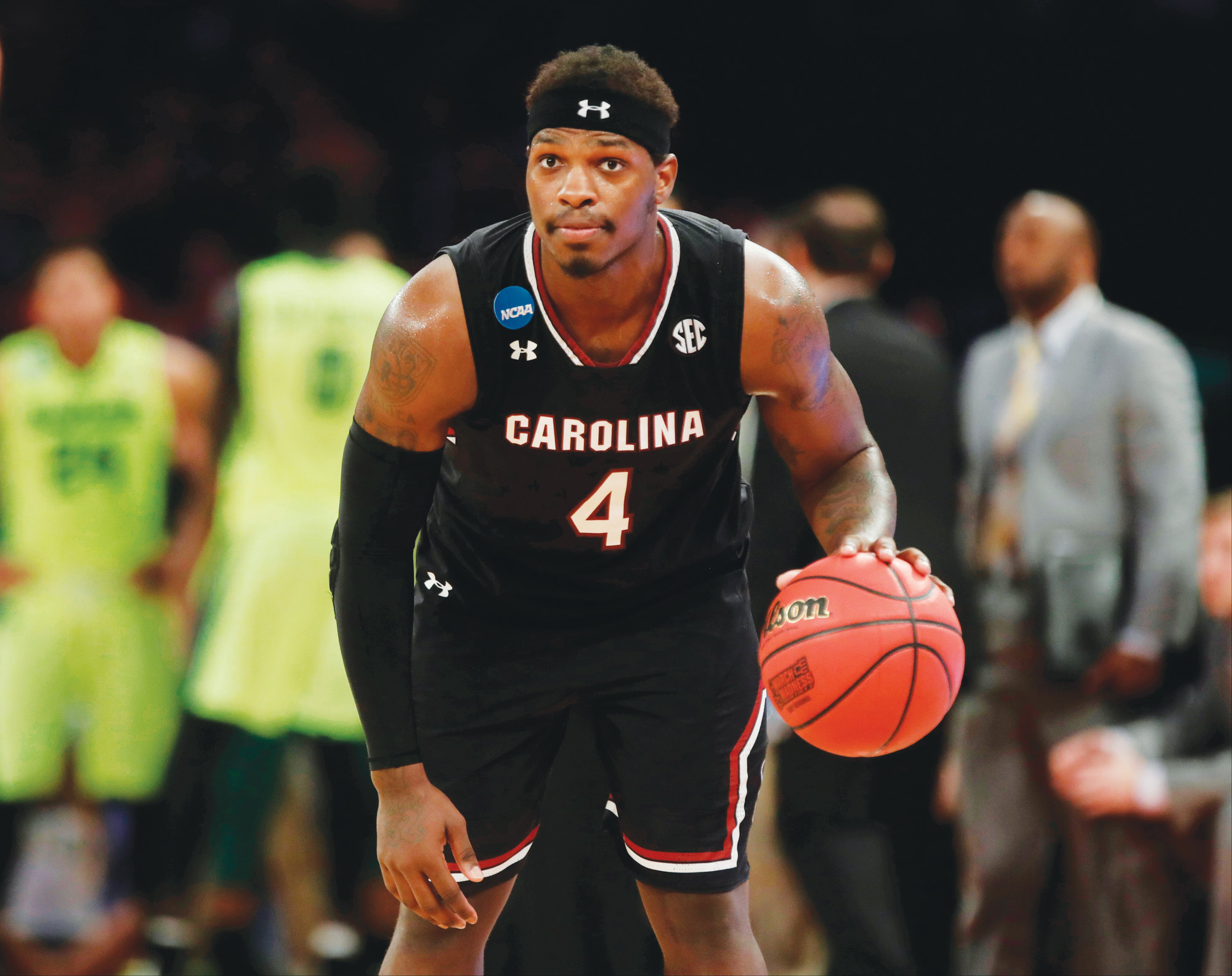 South Carolina guard Rakym Felder (4) dribbles down the clock  against Baylor to end a 2017 NCAA East Regional semifinal  game in New York. Felder, a key freshman reserve for South  Carolina's Final Four team two years ago, was dismissed from  the program by head coach Frank Martin on Monday.