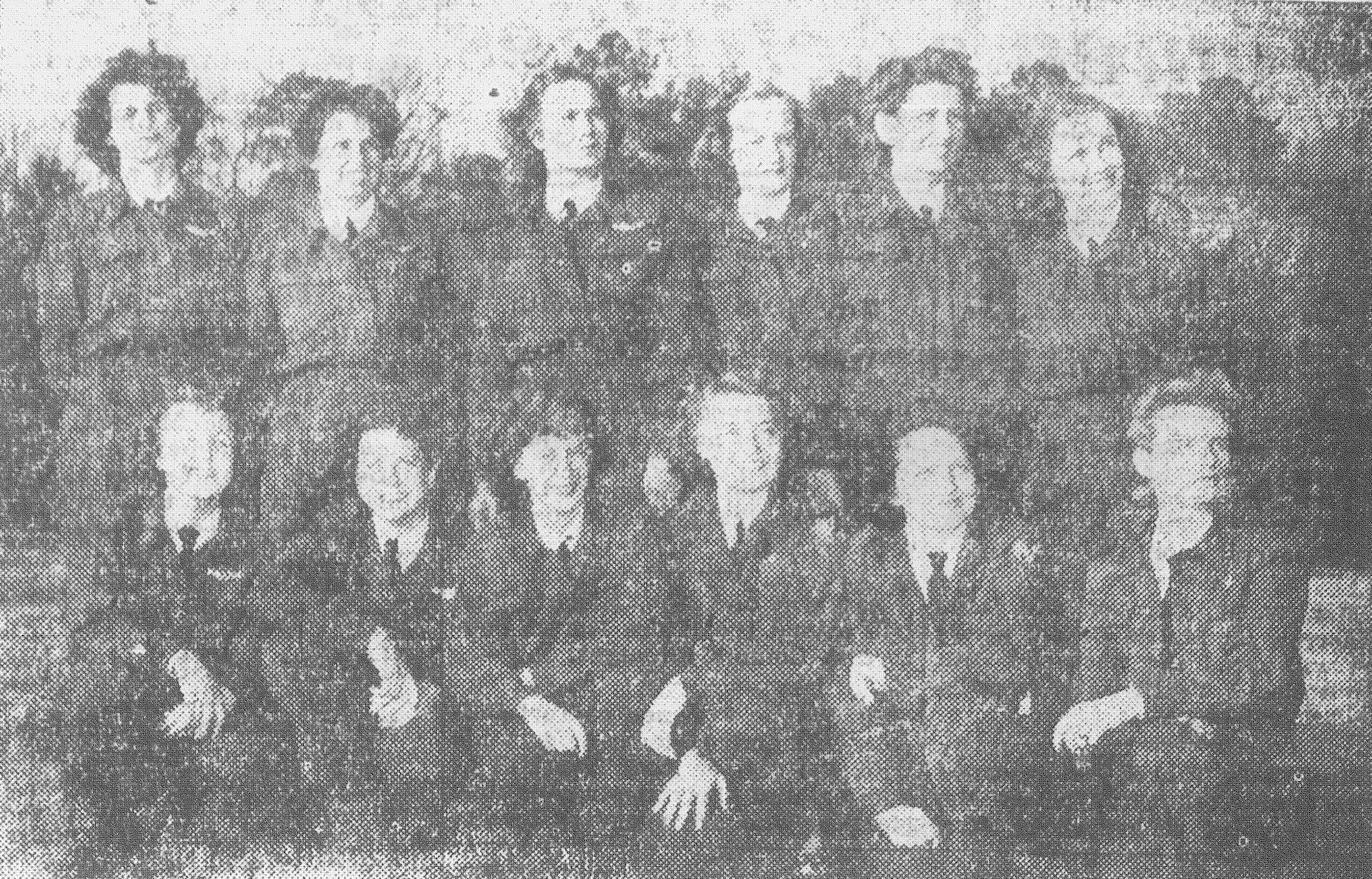 Twelve out of 13 of Shaw's WASPs are pictured here in 1944, the 12 members who wanted to obtain flying jobs when the WASP disbanded. Betty LeFevre was ill when the photo was taken, and she was the member who was going to look for a ground job. Bottom row from left: Beverly Dietrich, Marybelle Lyall, Marjorie Poppell, Ethel Meyer, Irene McConihay and Retha Minter. Top row from left: Kathleen Dooley, Marjorie Wakeham, Mary Showers, Mary Rance, Yvonne Pateman and Eleanor Feeley.