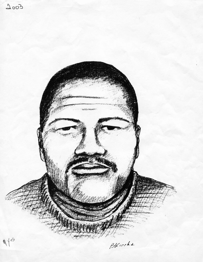 Shown is a sketch of the man a witness claimed to have seen Gregg getting into a car with on Red and White Street on the night she was shot and killed in 2003. The same witness reported hearing gunshots about 30 minutes after they left. Gregg's body was found less than three blocks away.