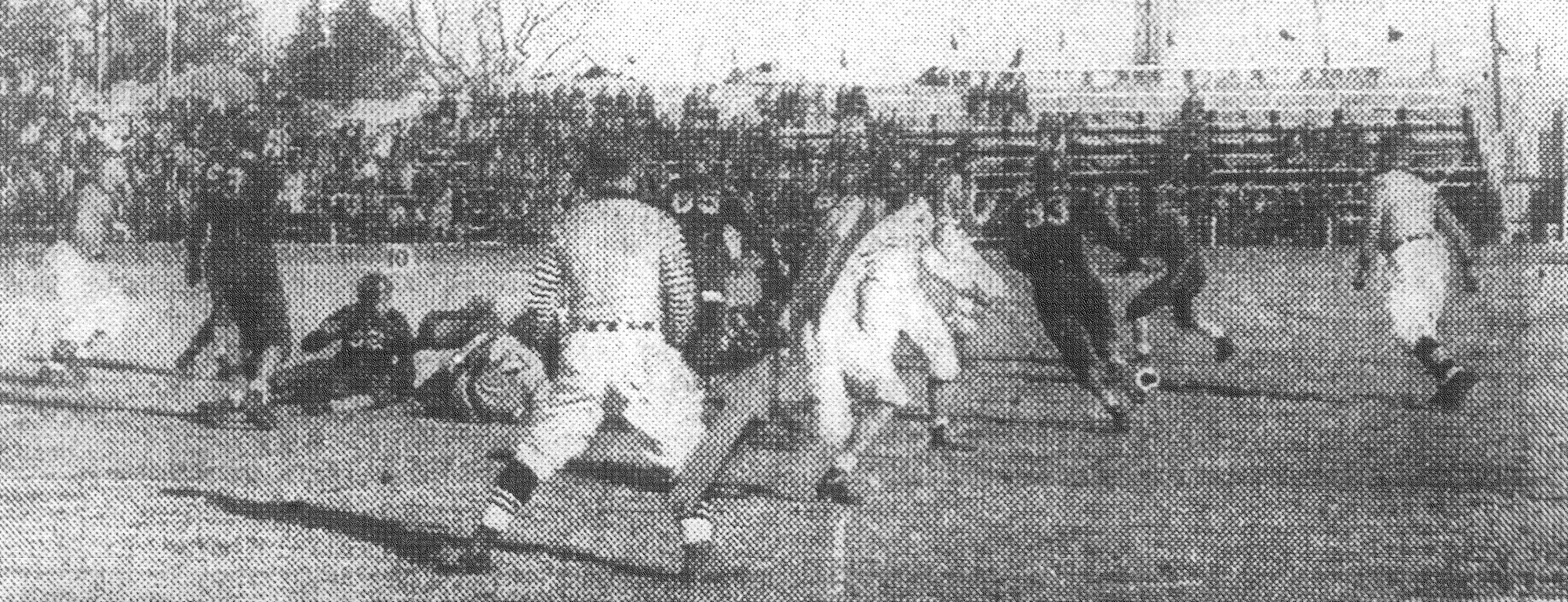 A touchdown is made against Charleston with Harry Commins hitting the line for a score in 1943.