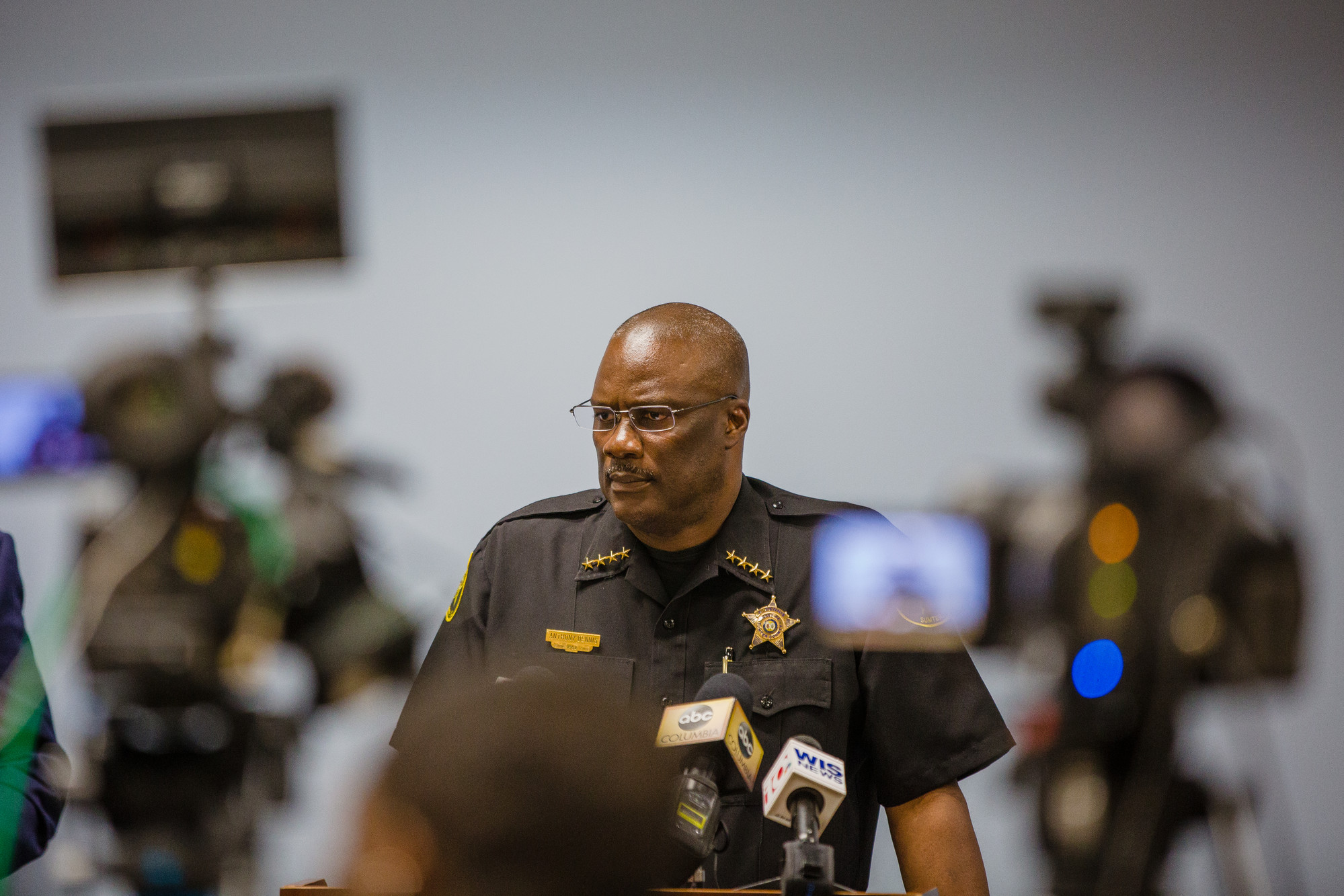 Sumter County Sheriff Anthony Dennis speaks with the press about the murder of Jerry Johnson, whose body was found in Lake Marion last week.