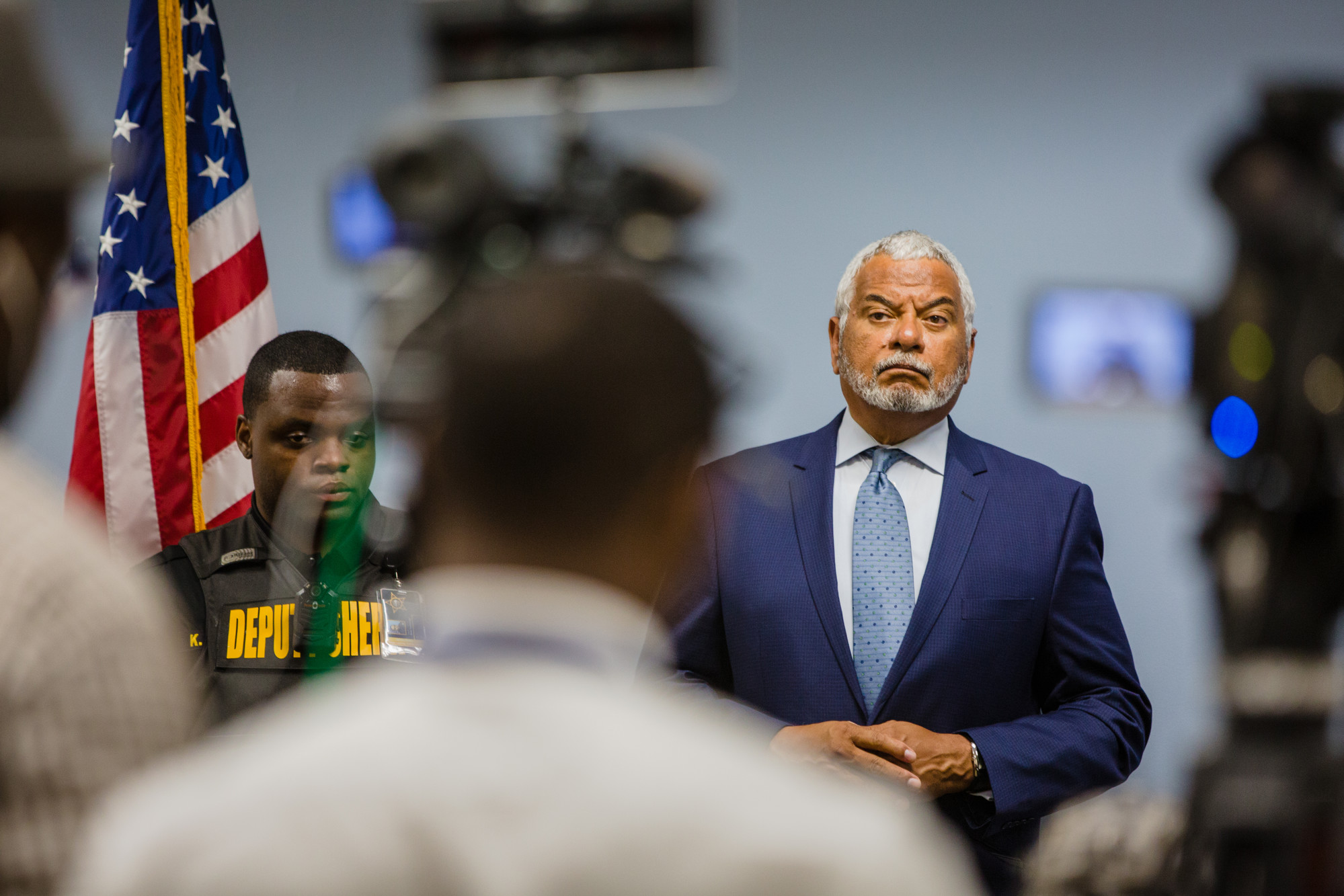 "Third Circuit Solicitor Ernest ""Chip"" Finney III takes questions during the press conference on Monday."