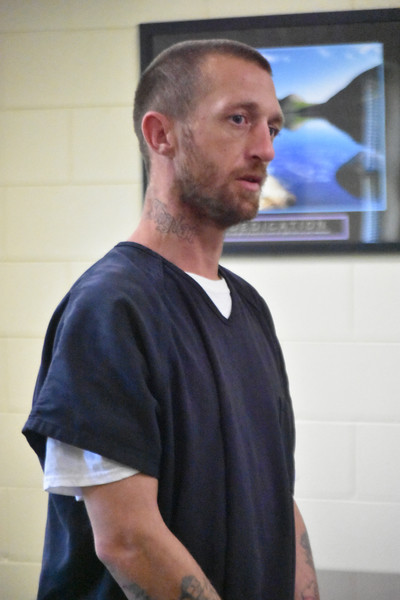 Anthony Dustin Dill, 32, stands during his first appearance hearing Wednesday, May 9 at the Sumter-Lee Regional Detention Center. He soon-after began shouting obscenities at the judge and could be heard spitting in the hallway after he walked out of his own bond hearing. Bond was denied.