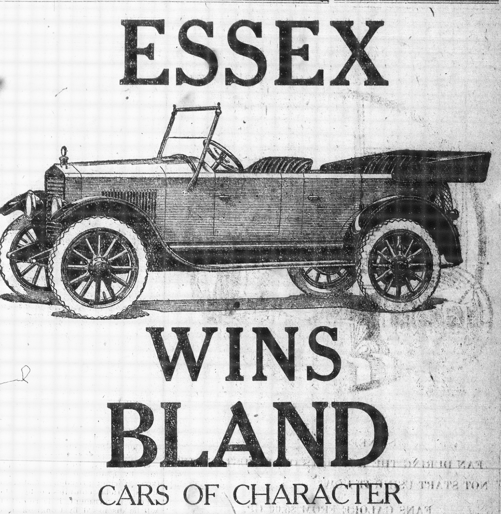 H. C. Bland was a distributor for the Essex and other vehicles in Sumter in 1917.