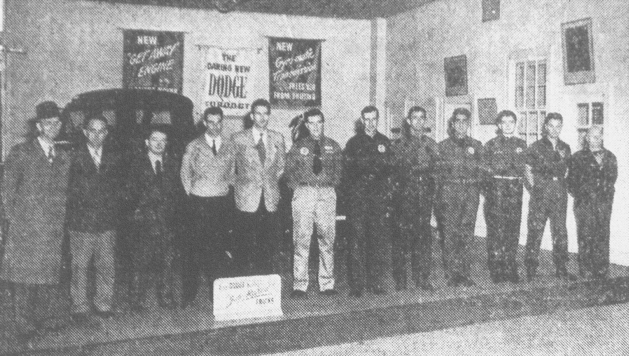 Members of McCollum Motors are seen in 1949. From left are J. H. McCollum, F. K. Holman, Vaughan Jennings, Walter LeNoir, R. T. Brown Jr., Harry Brunson, Carl Tobias, John I. Steele, Joseph Puglia, Harvey Reynolds, Patterson Clarke and Ben E. Furse.