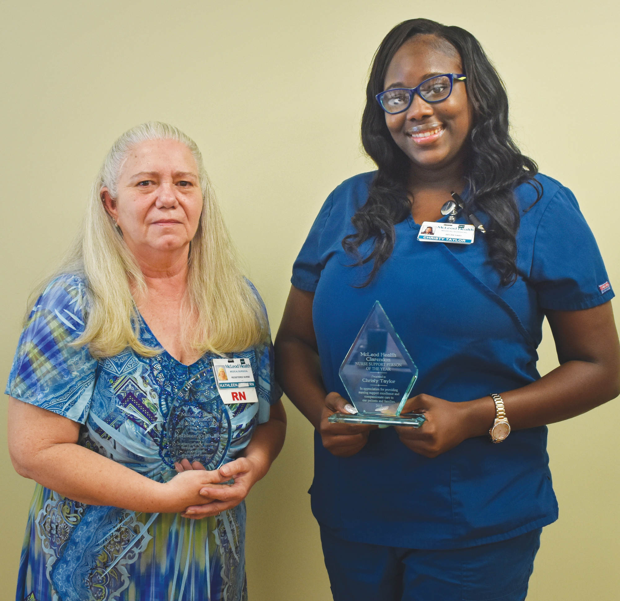 "PHOTO PROVIDEDKathleen ""Kathy"" Keith, left, was named Registered Nurse of the Year, and Christy Taylor, Unit Secretary, was named Support Person of the Year."