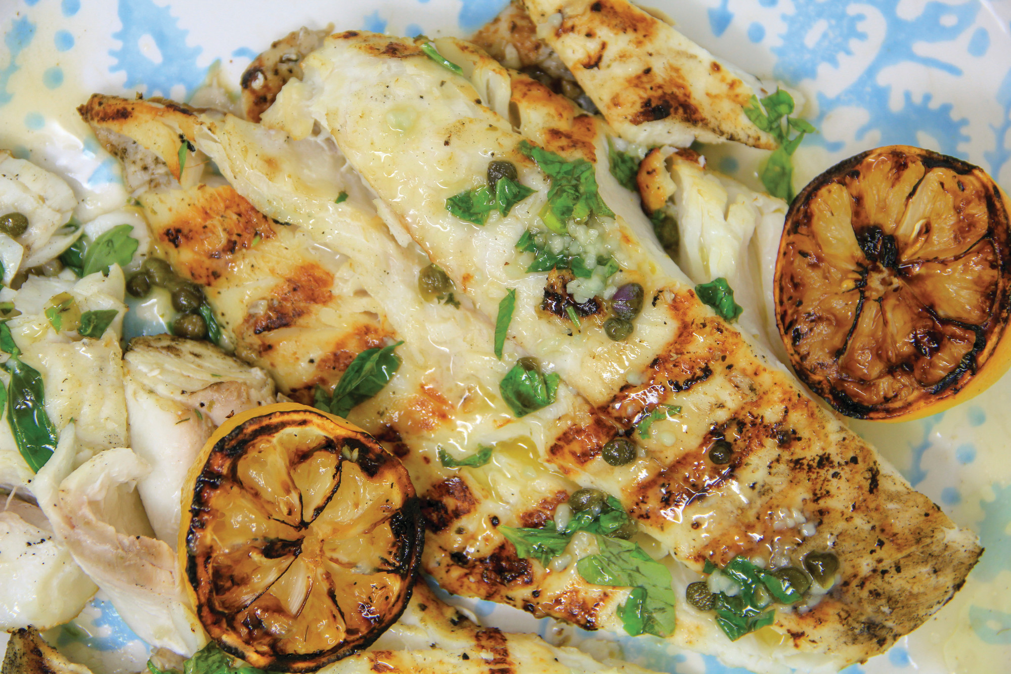 Grilled Halibut with Butter Caper Herb Sauce