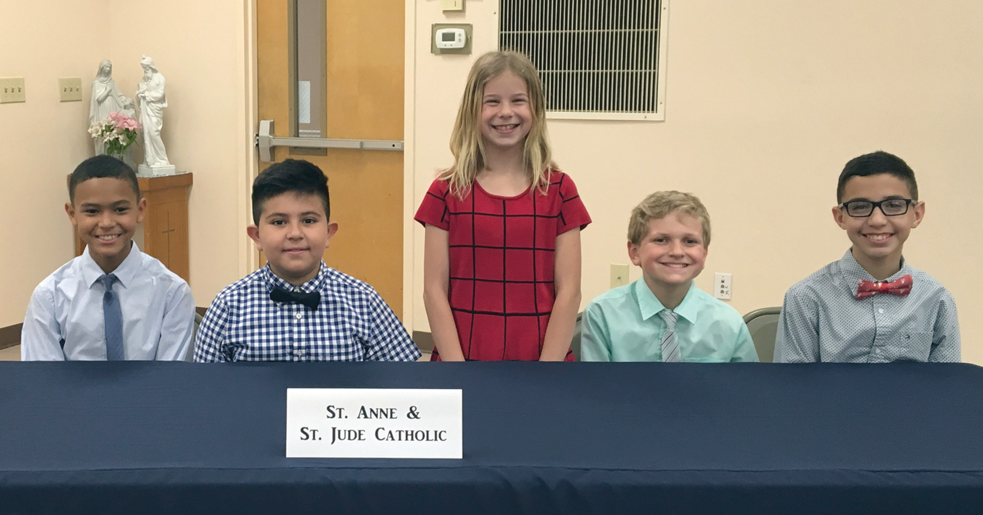PHOTO PROVIDED BY SCISASt. Anne & St. Jude Catholic School students, from left, Christopher Carpenter, Alek Lujan, Ashlyn Hutchison, Jonah Reisenauer and Entrique Rodriguez took fourth place in the SCISA Lower School Quiz Bowl. University School of the Lowcountry from Mt. Pleasant finished the competition with the top score, followed by the team from Cathedral Academy in Charleston. The team from All Saints' Episcopal Day School from Florence took third place.