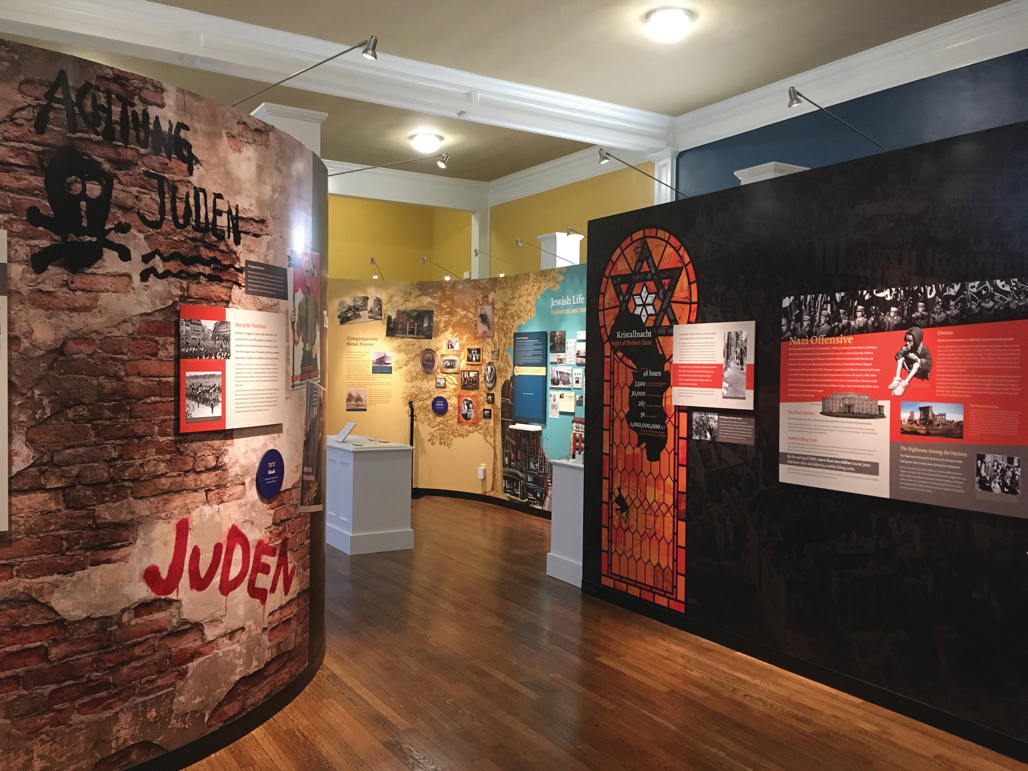 There is an extensive exhibit at Temple Sinai Jewish History Center on the Holocaust and the atrocities performed by the Nazis during World War II.