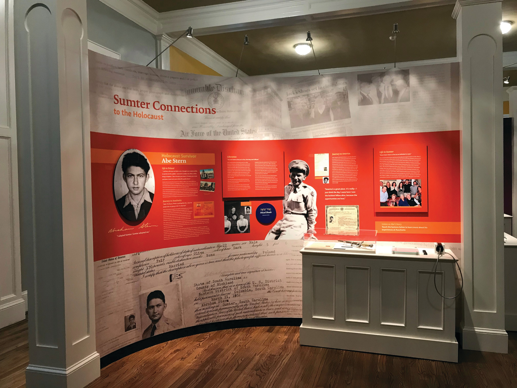 Holocaust survivor and Sumter resident Abe Stern's experiences are explored in an exhibit that also includes information on other Sumter residents affected by the Holocaust. The exhibit is part of the new Temple Sinai Jewish History Center, opening Friday.