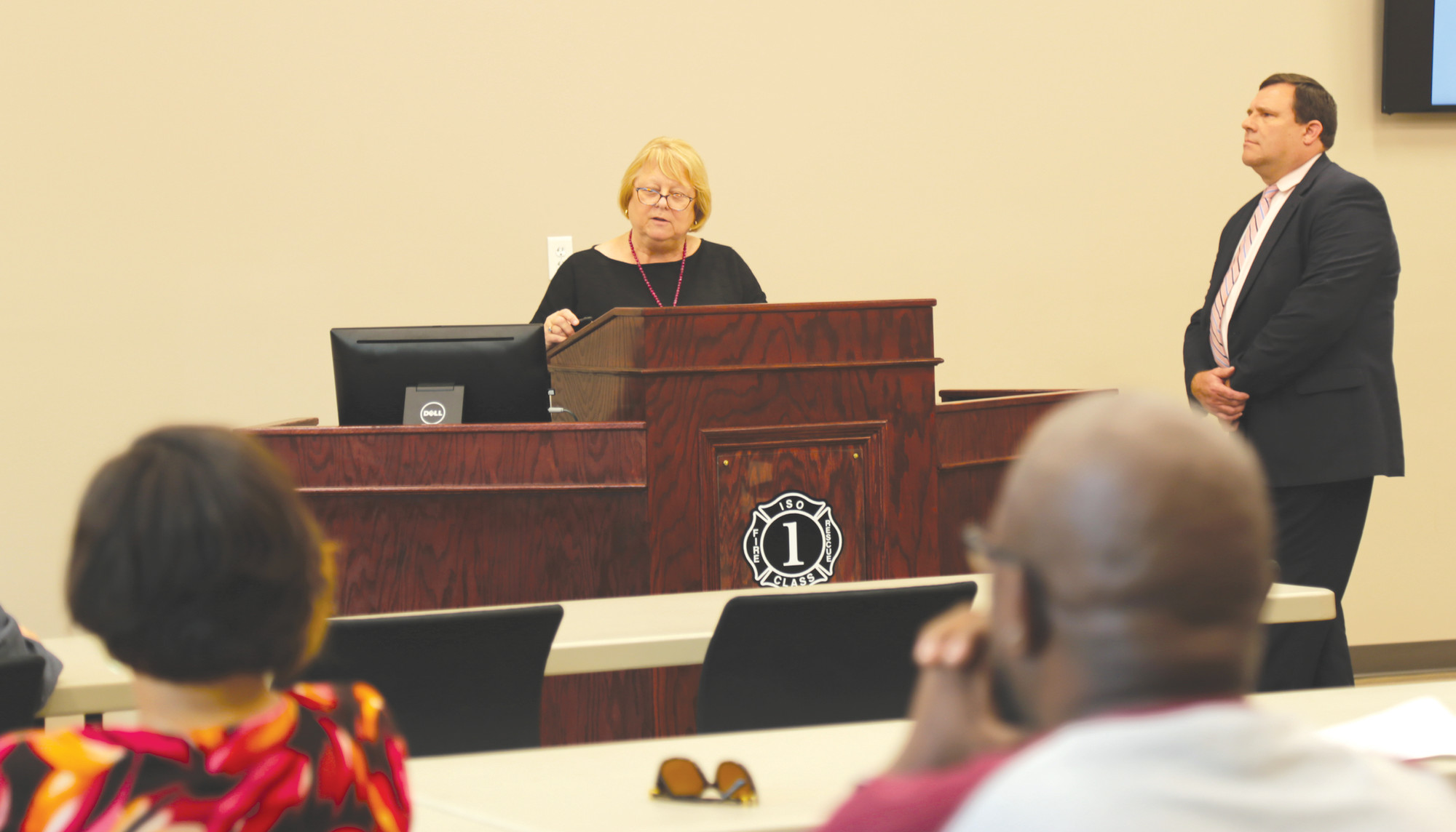 Sumter School District Interim Superintendent Debbie Hamm speaks to Sumter County Council on Tuesday night about the district's request for a 5.48-mill increase.