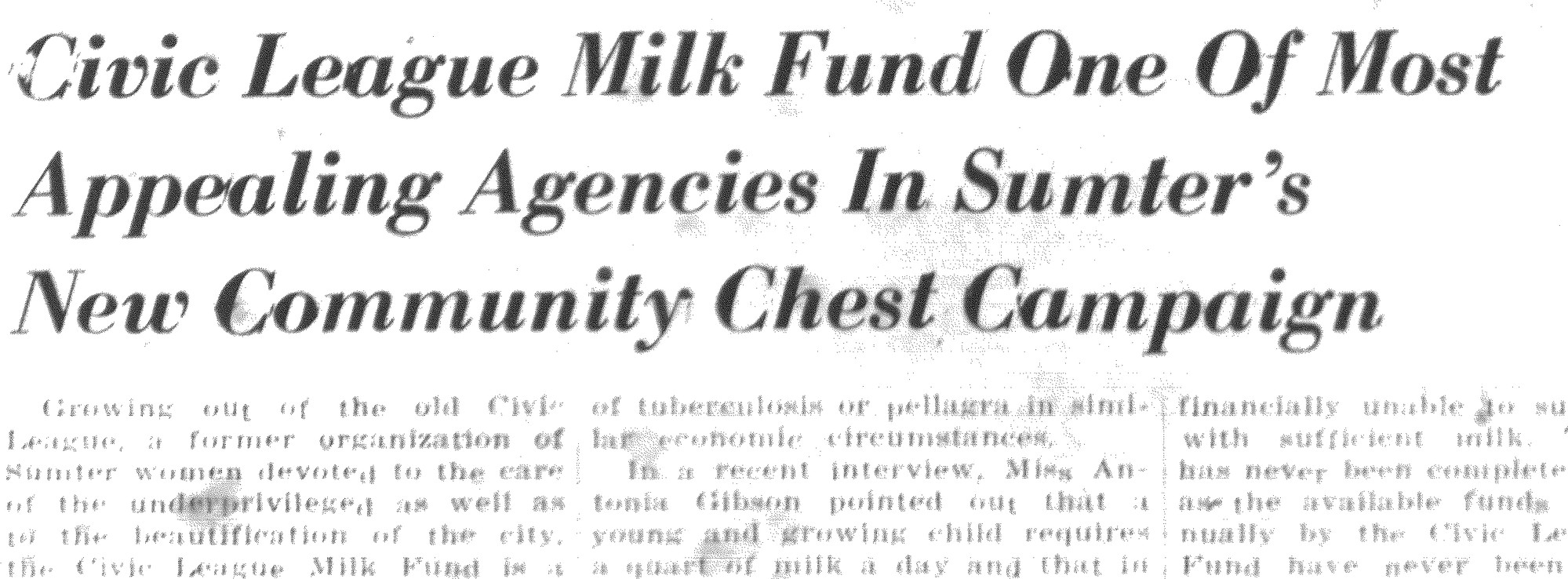 A headline in The Sumter Item announces the milk program.