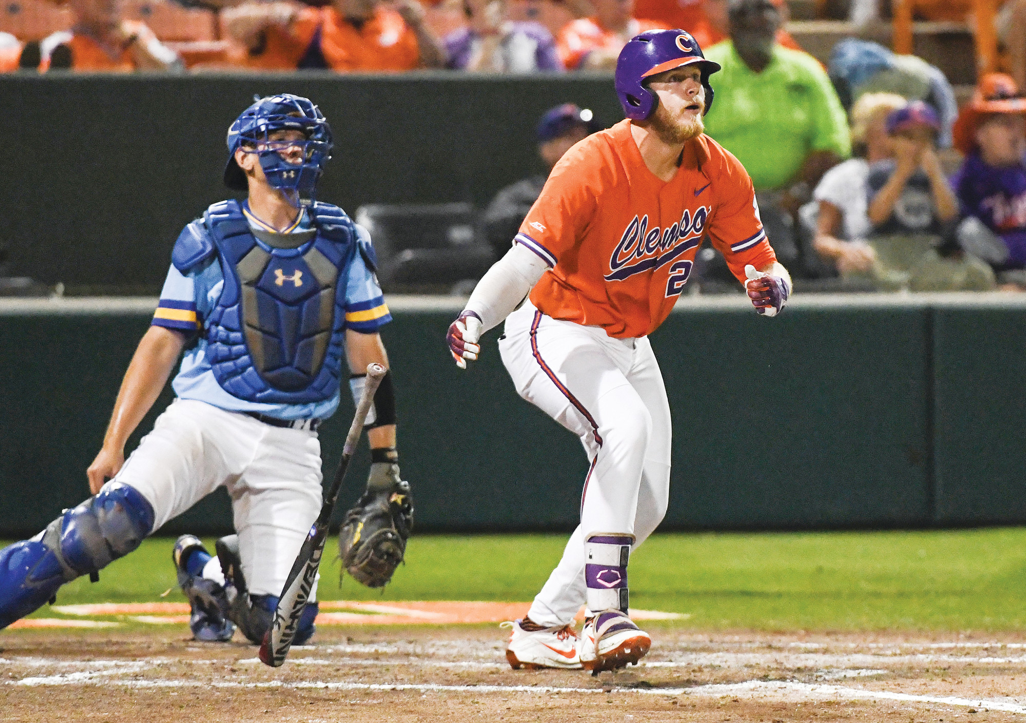 Clemson's Seth Beer (28) watches his home run against Morehead State during the bottom of the fifth inning in an NCAA college baseball tournament regional game in Clemson on Friday.