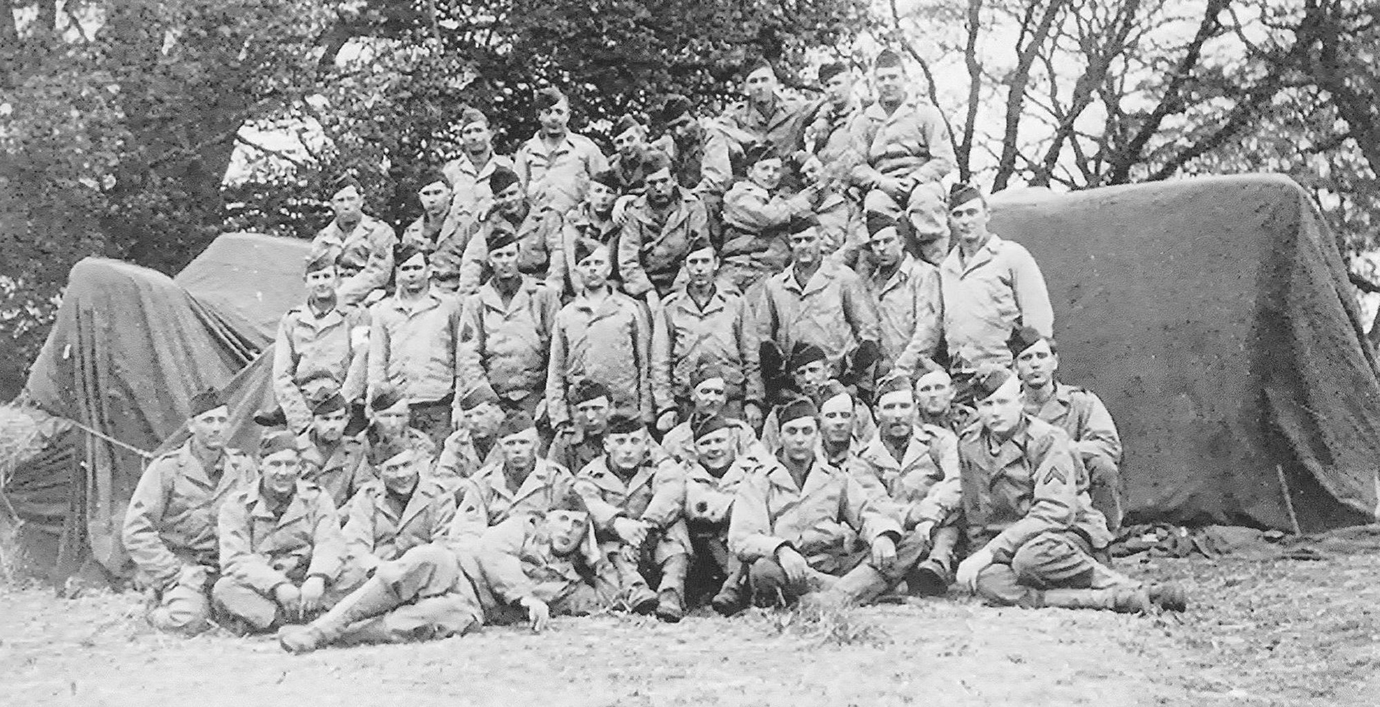Sim Wright's platoon is seen during World War II.