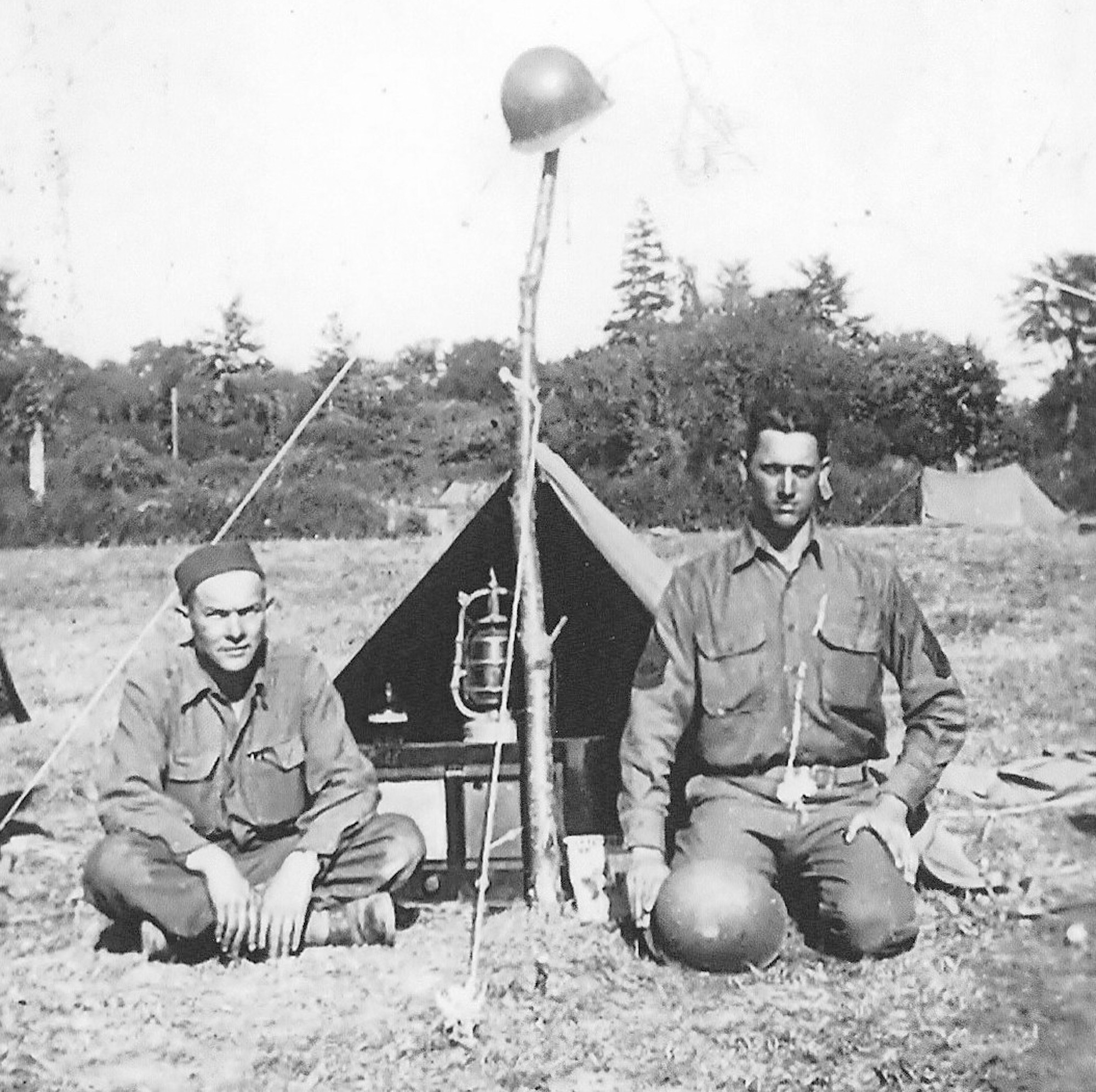 Sim Wright, right, camps in France in 1944 during World War II.