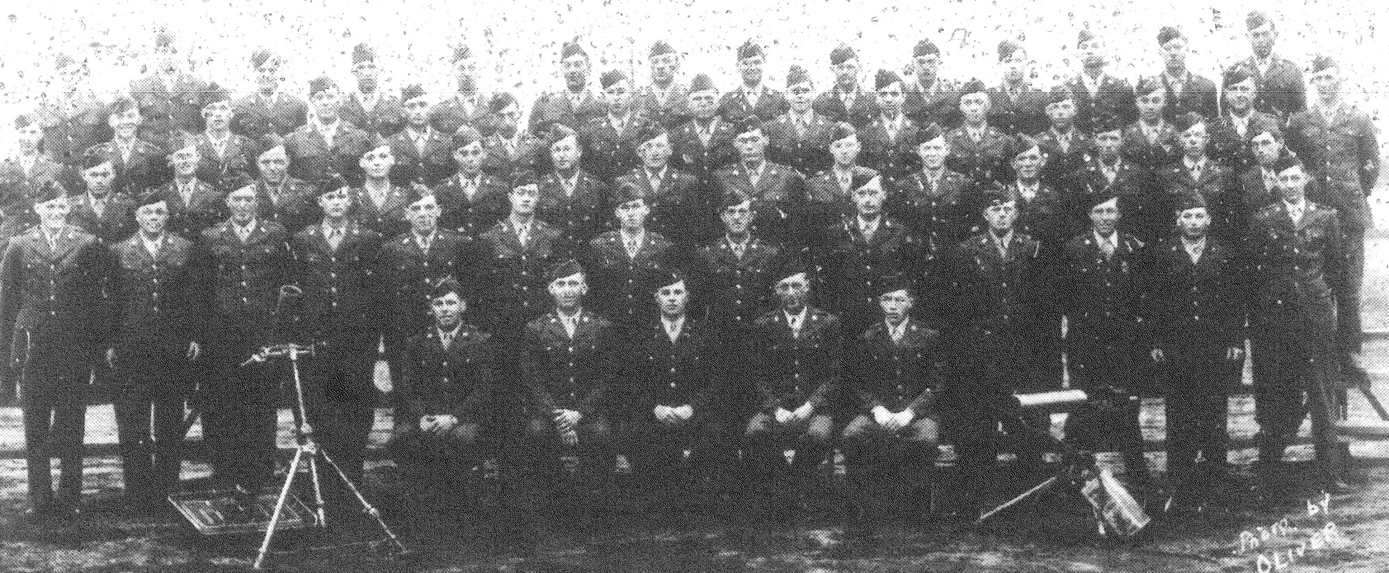 Bertrand Waring's platoon included several Sumterites. Waring, nicknamed Hard Tack, is on the fourth row, ninth from left. Carlisle Lewis is on the fourth row, third from right. Ruben Watford of Turbeville is on the third row, ninth from left. James Prosser of Sumter is on the back row, fourth from left.