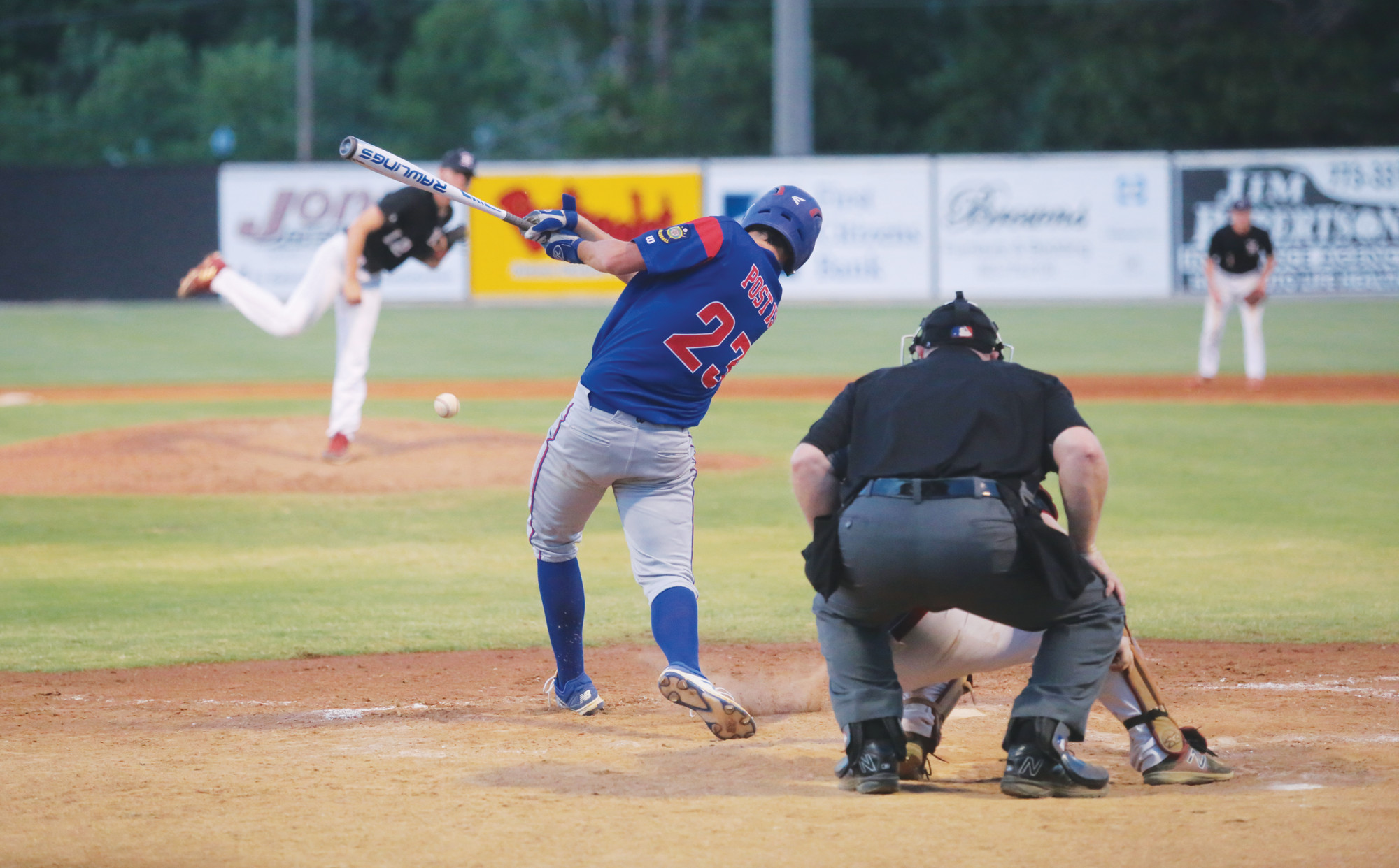 Sumter's Andrew Twitty makes contact during uring the P-15's 10-0 6-inning victory over Hampton Post 108 on Friday at Riley Park.