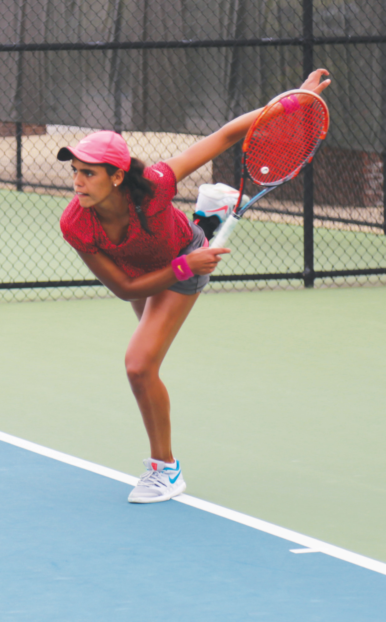 Maria Jose Portillo Ramirez follows through on a serve during her 6-2,