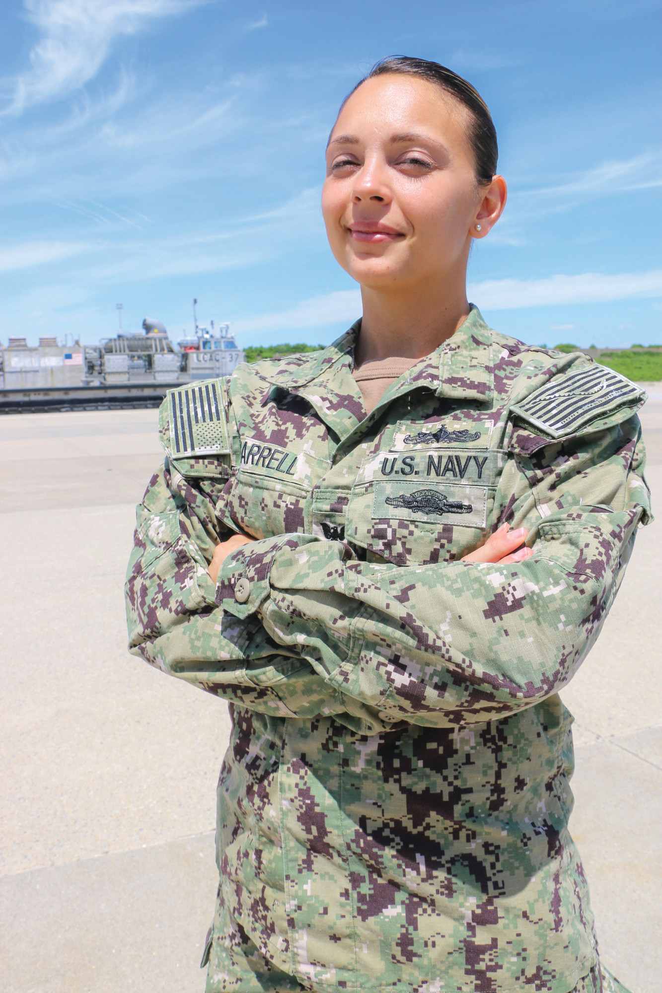 Petty Officer 2nd Class Tabitha Harrell works as an operations specialist with Assault Craft Unit FOUR (ACU 4) out of Virginia Beach, Virginia.