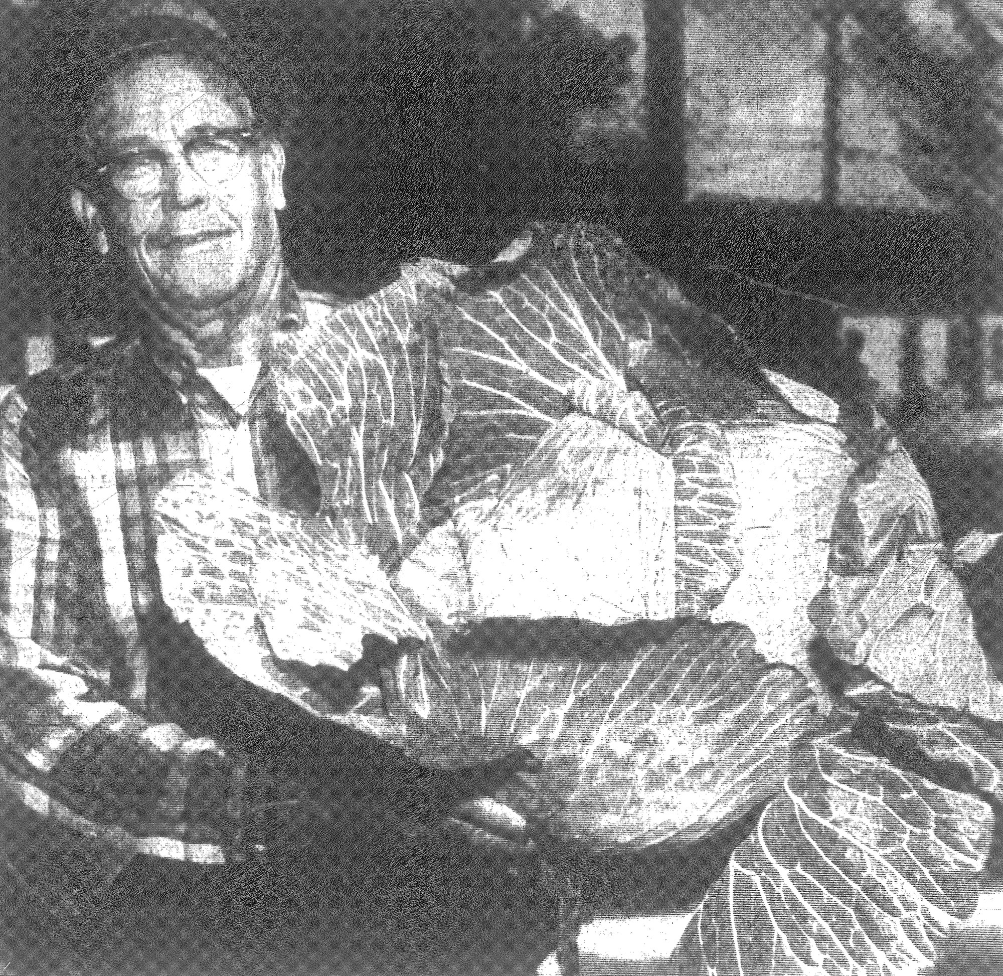 E. L. Carraway is seen with his monster cabbage in 1968.