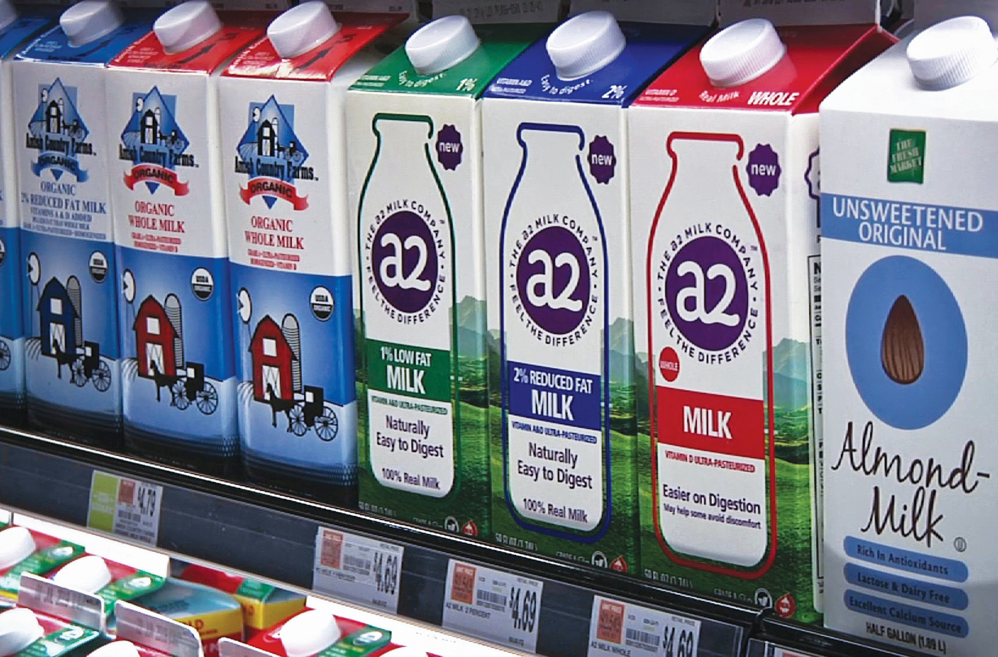 PHOTOS BY THE ASSOCIATED PRESSA2 milk is displayed on the shelf at The Fresh Market in Latham, New York. So-called A2 milk is showing up on more supermarket shelves.